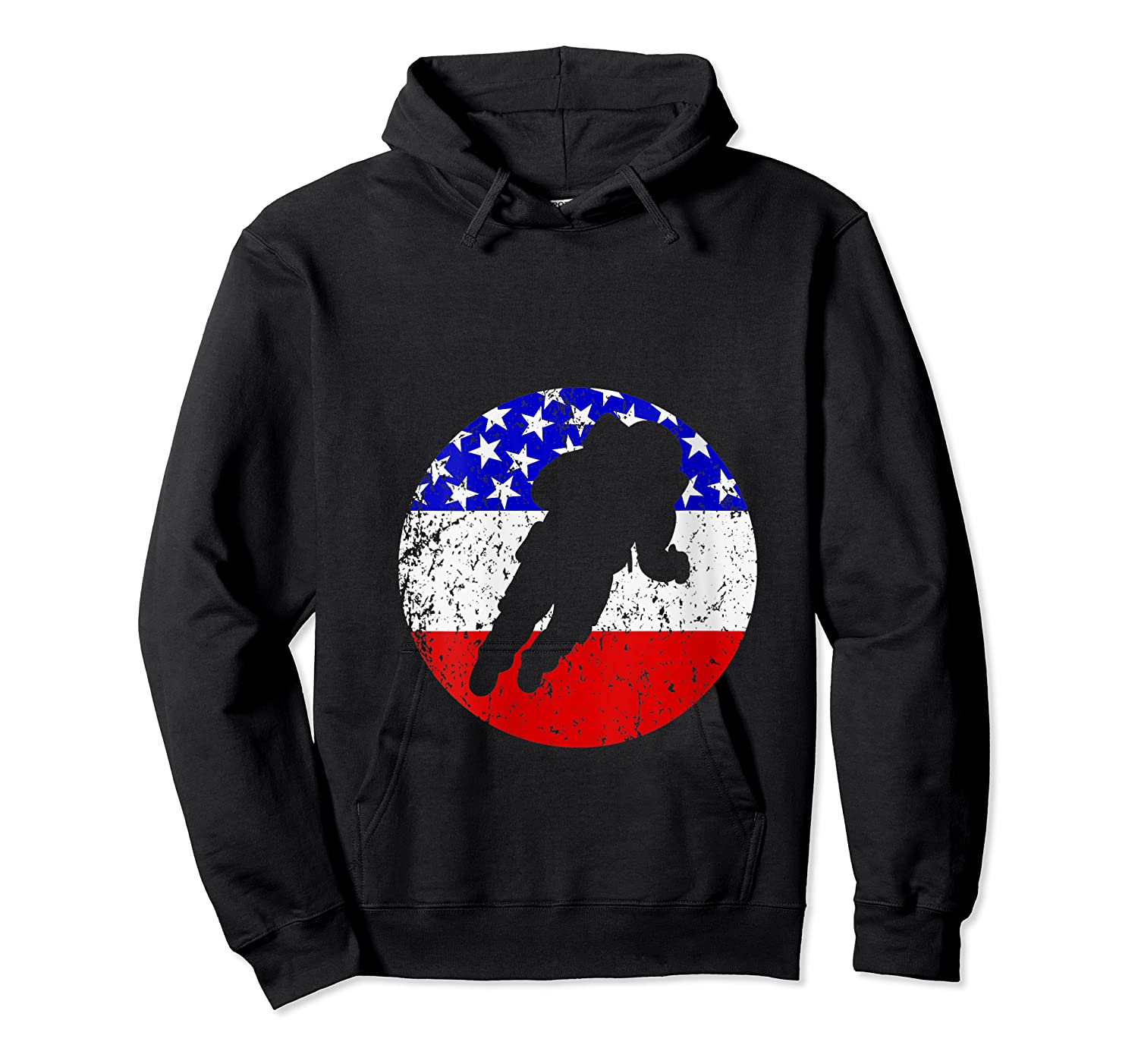 Space Science Retro Astronaut American Flag T-shirt Unisex Pullover Hoodie