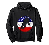 Space Science Retro Astronaut American Flag T-shirt Hoodie Black