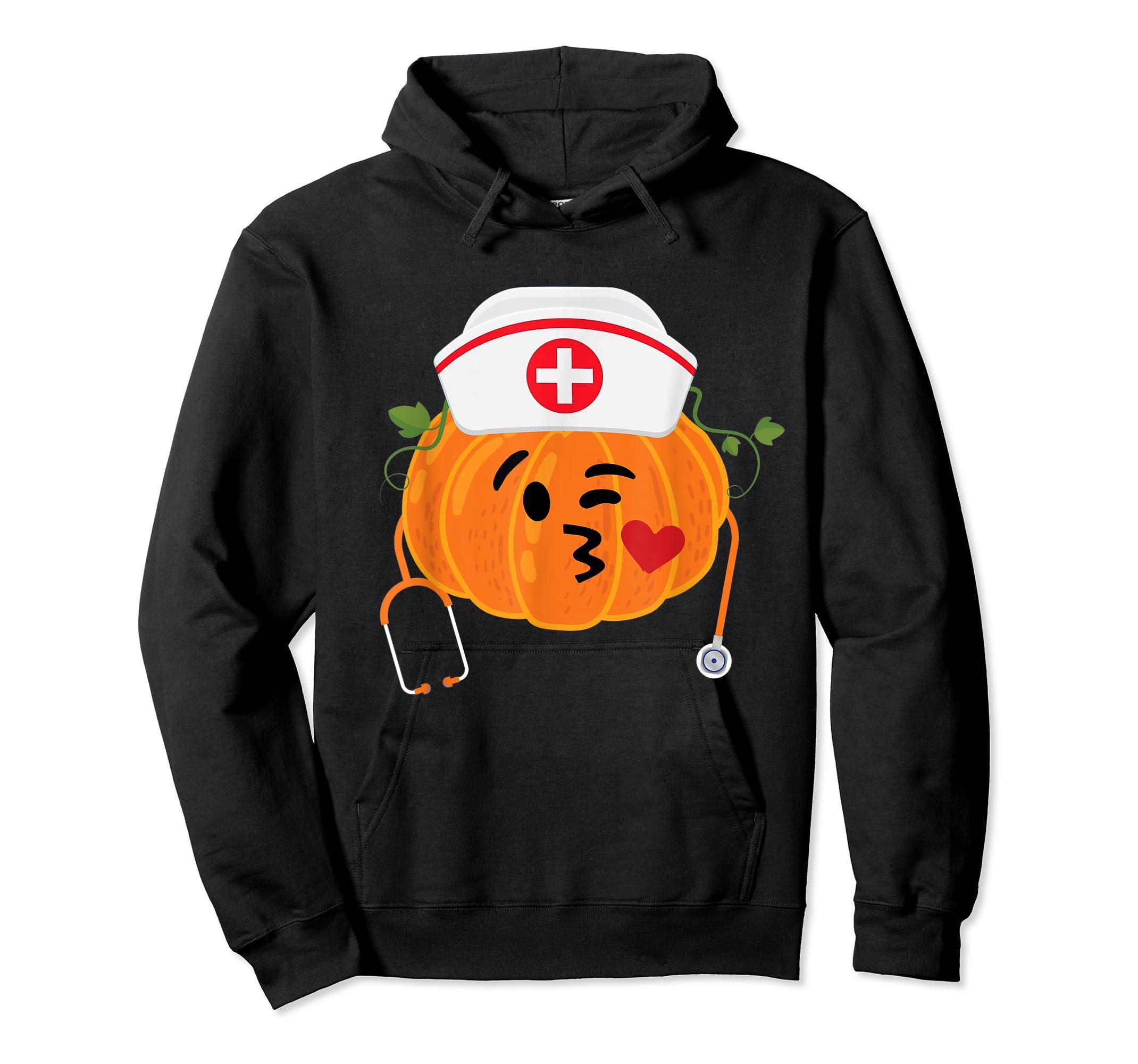 Nurse Stethoscope Pumpkin Funny Nursing Halloween Gift T-Shirt-Hoodie-Black
