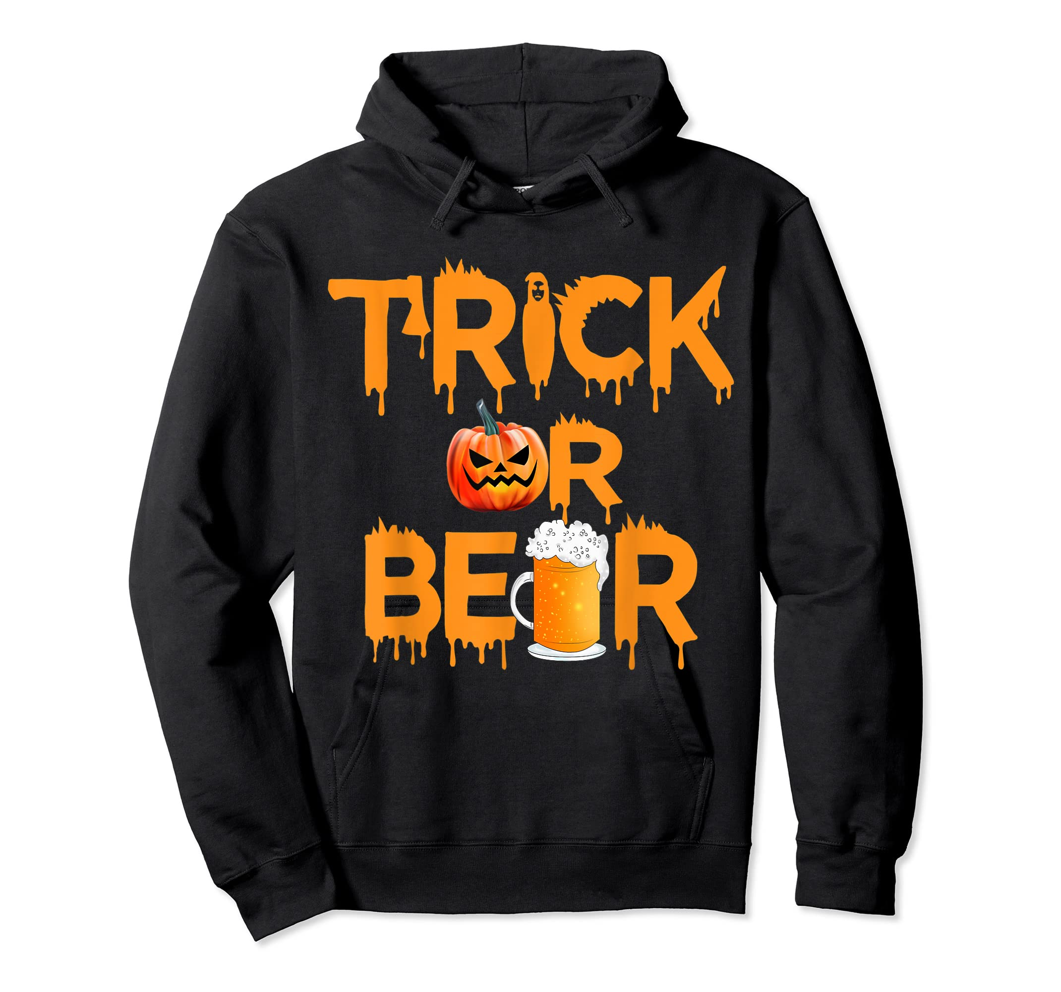 Halloween Costume Trick or Beer Drinking T Shirt Pumpkin Men T-Shirt-Hoodie-Black