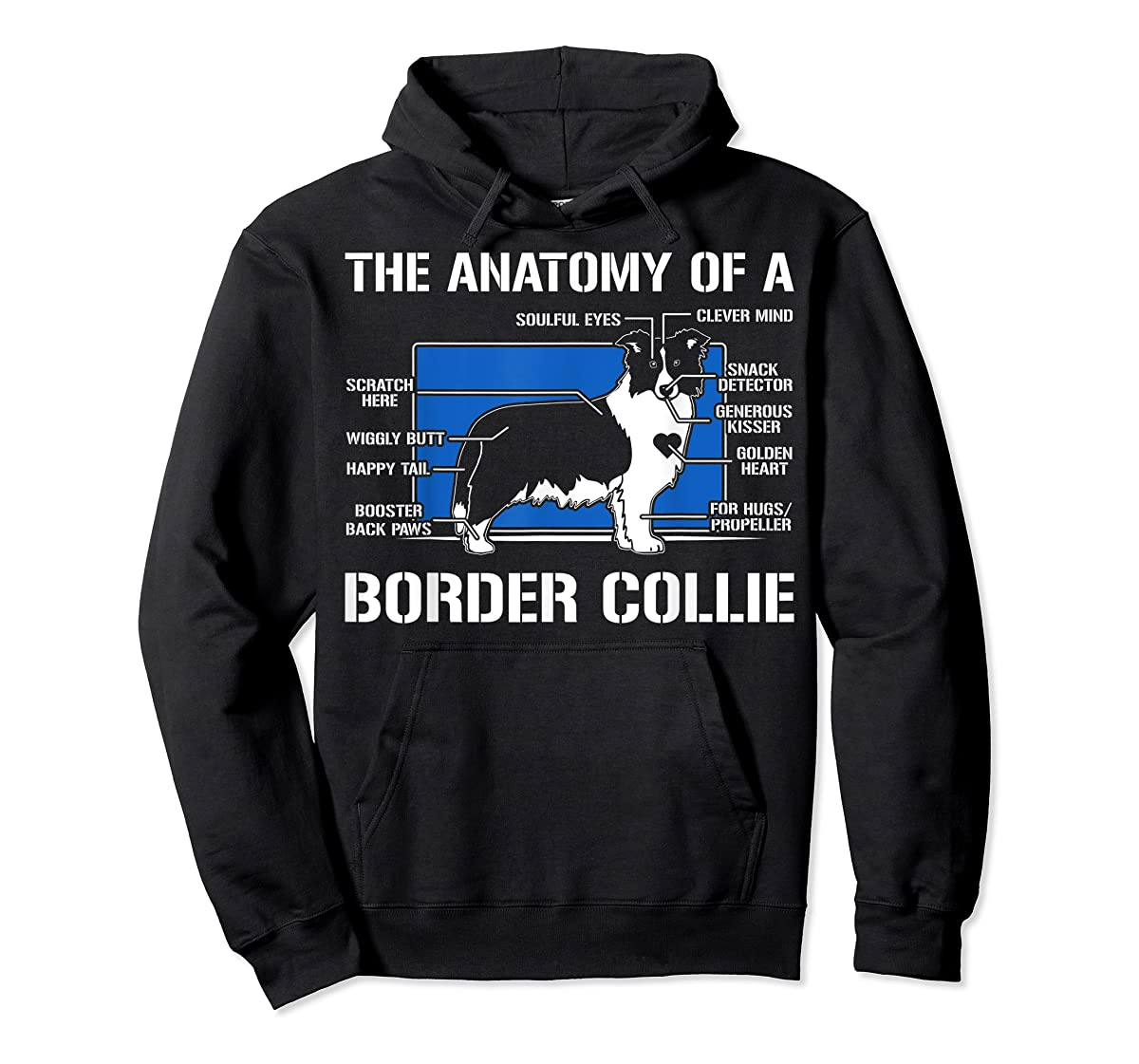 The Anatomy Of A Border Collie T shirt-Hoodie-Black