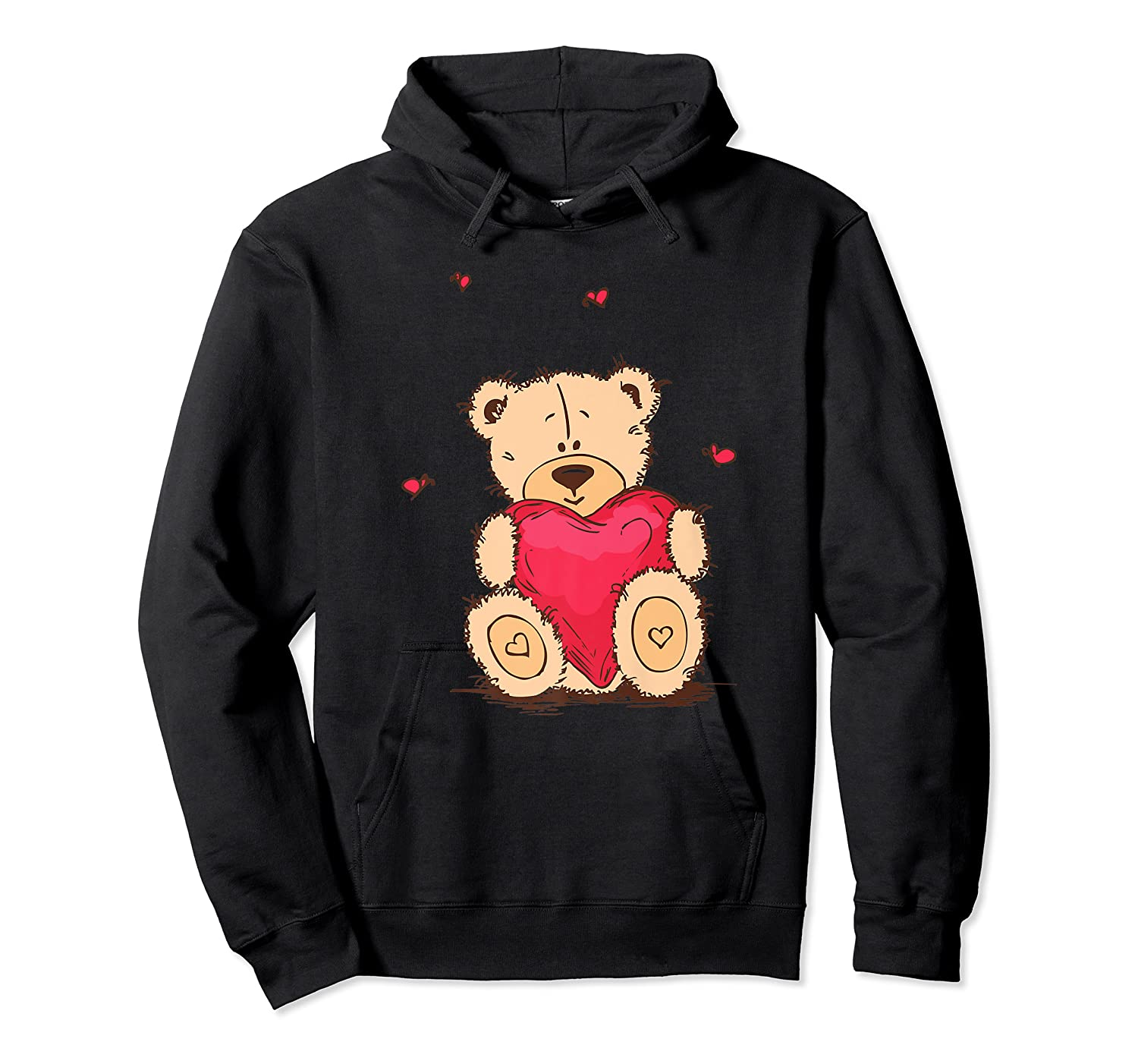 Adorable Teddy Bear Give You Love   Valentine Day T-shirts. Unisex Pullover Hoodie