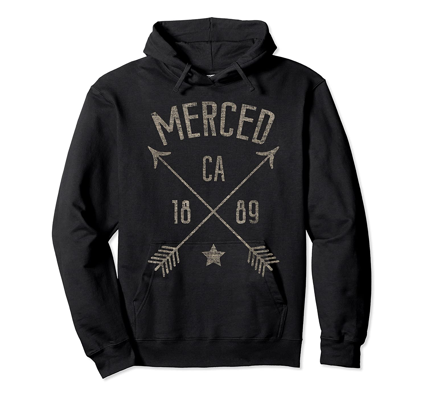 Merced Ca T Shirt Distressed Boho Style Home City Unisex Pullover Hoodie