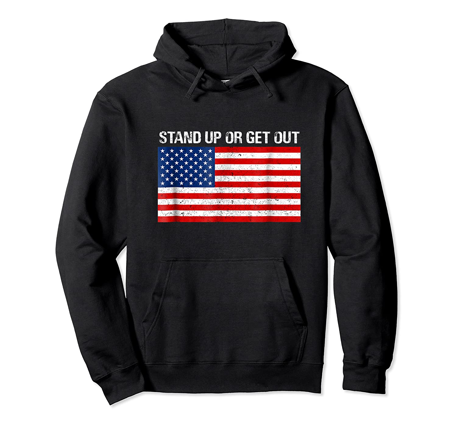 Stand Up Or Get Out Anti-swoosh Anti-kneel Usa Flag T-shirt Unisex Pullover Hoodie