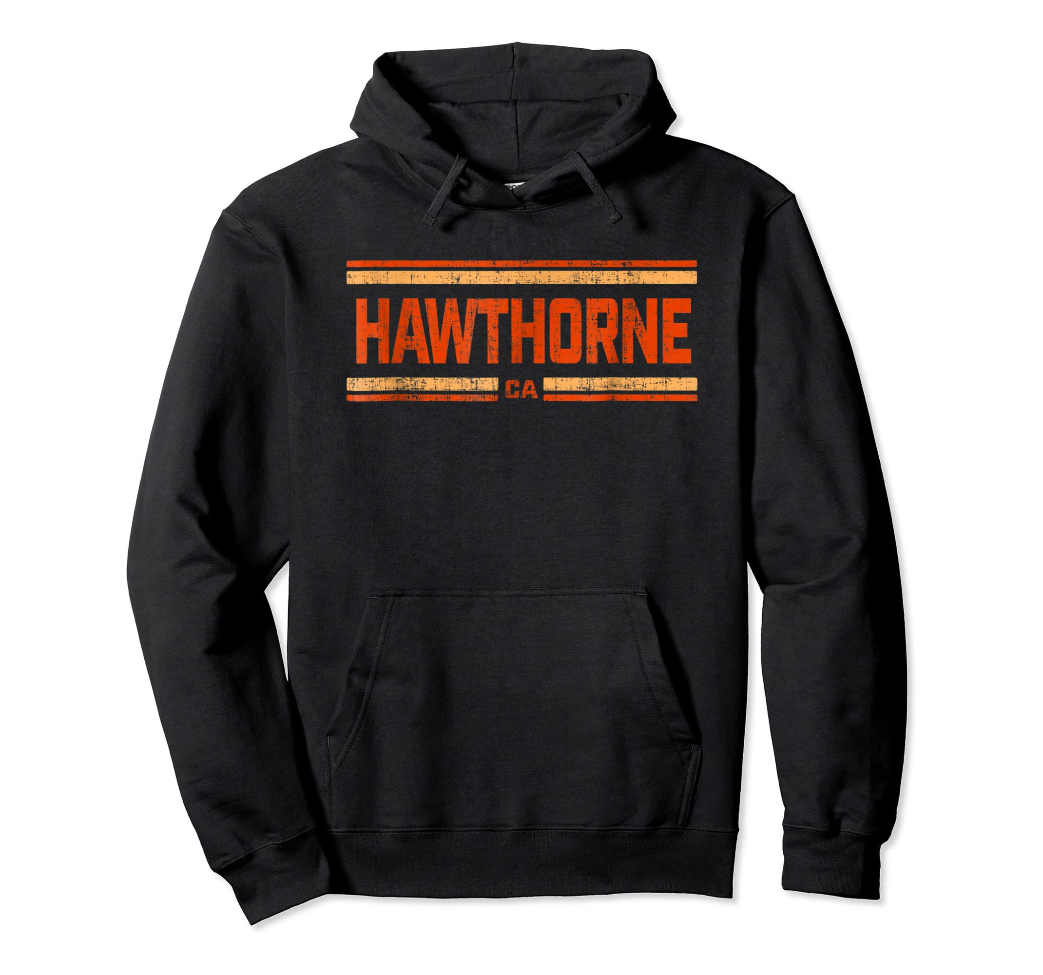 Retro Vintage Hawthorne CA Distressed T-Shirt-Hoodie-Black