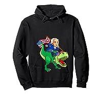 George Washington Riding T Rex Dinosaur 4th Of July Trex Shirts Hoodie Black