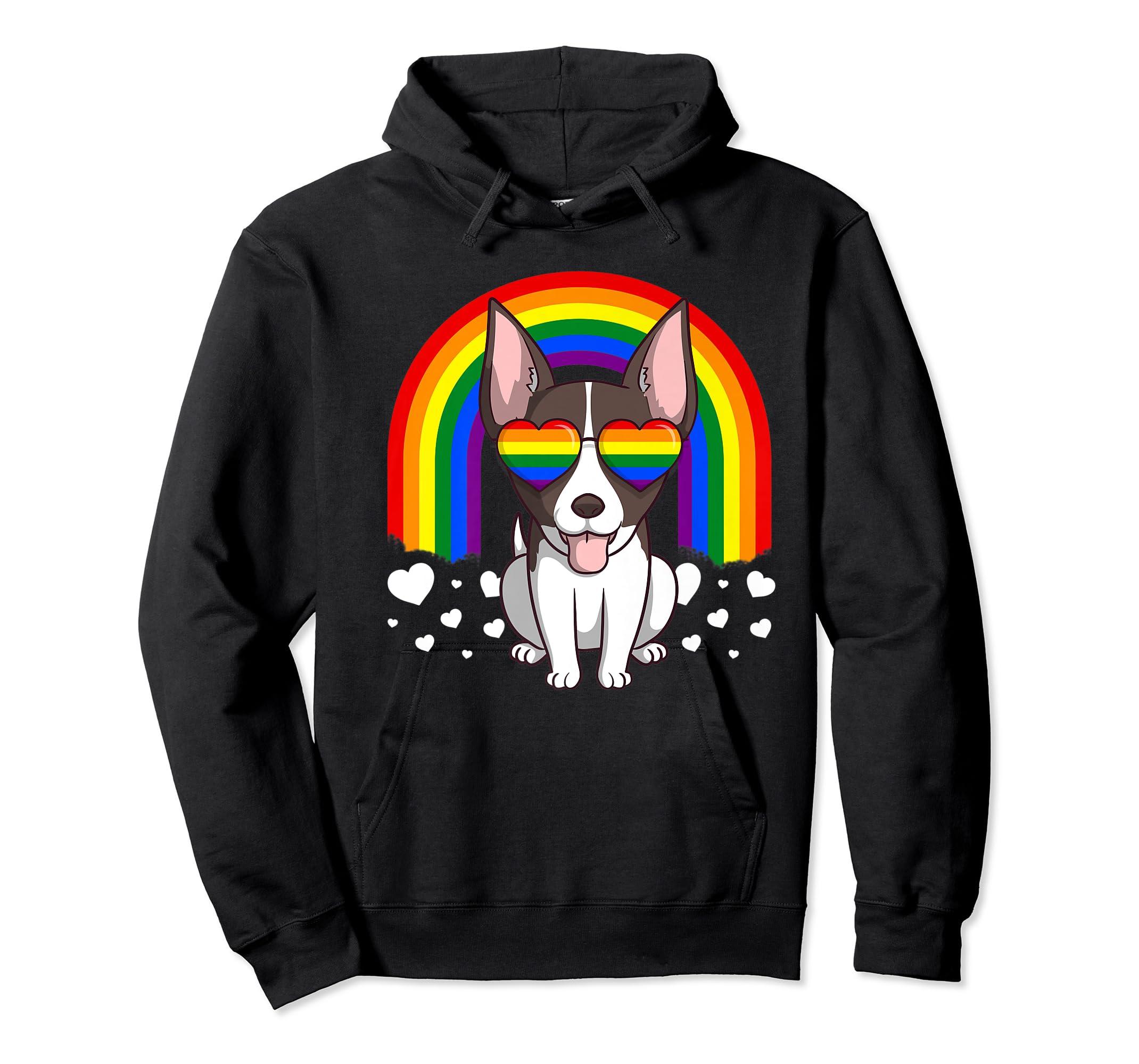 LGBT Rat Terrier Dog Gay Pride Rainbow LGBTQ Cute Gift Premium T-Shirt-Hoodie-Black