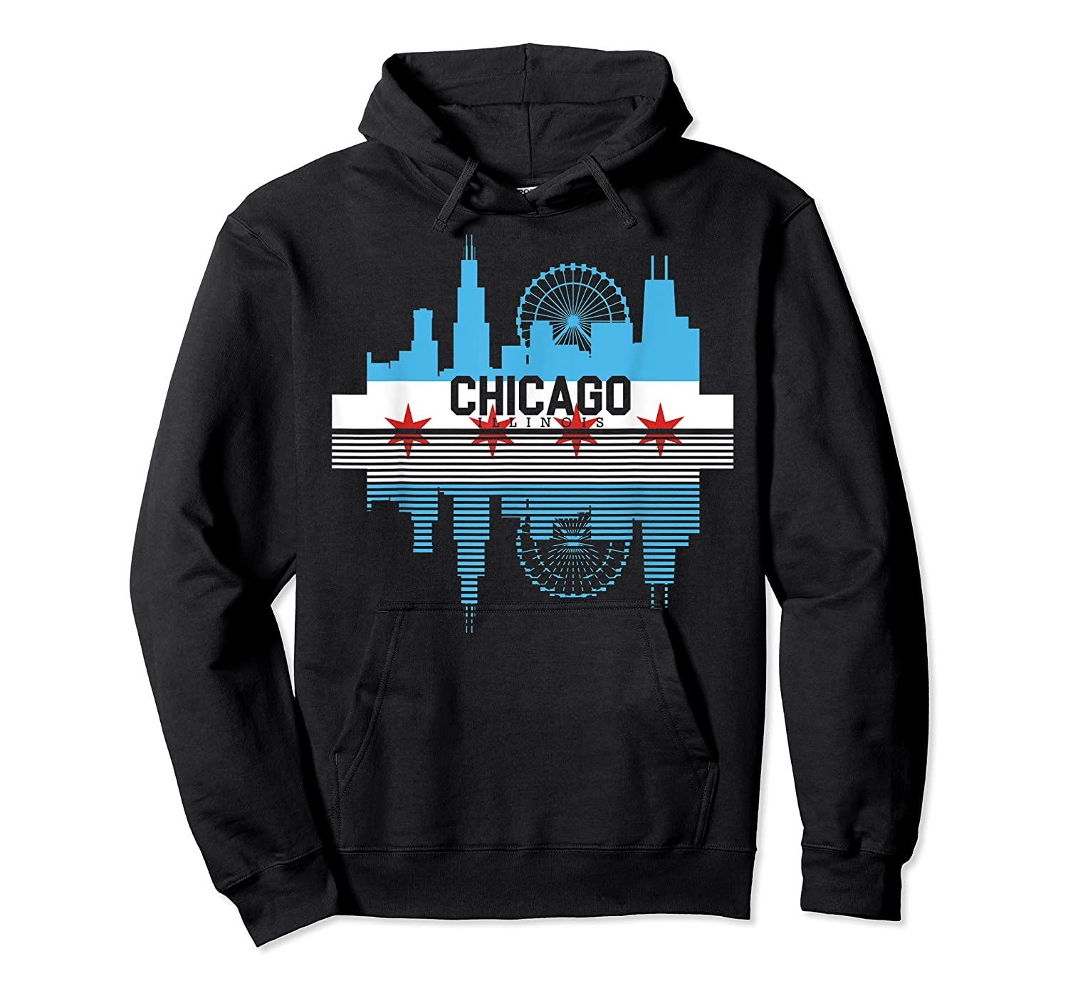 Chicago Skyline Shirt Silhouette Il City Flag Gift T Shirt Unisex Pullover Hoodie