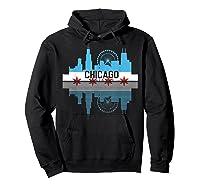 Chicago Skyline Shirt Silhouette Il City Flag Gift T Shirt Hoodie Black
