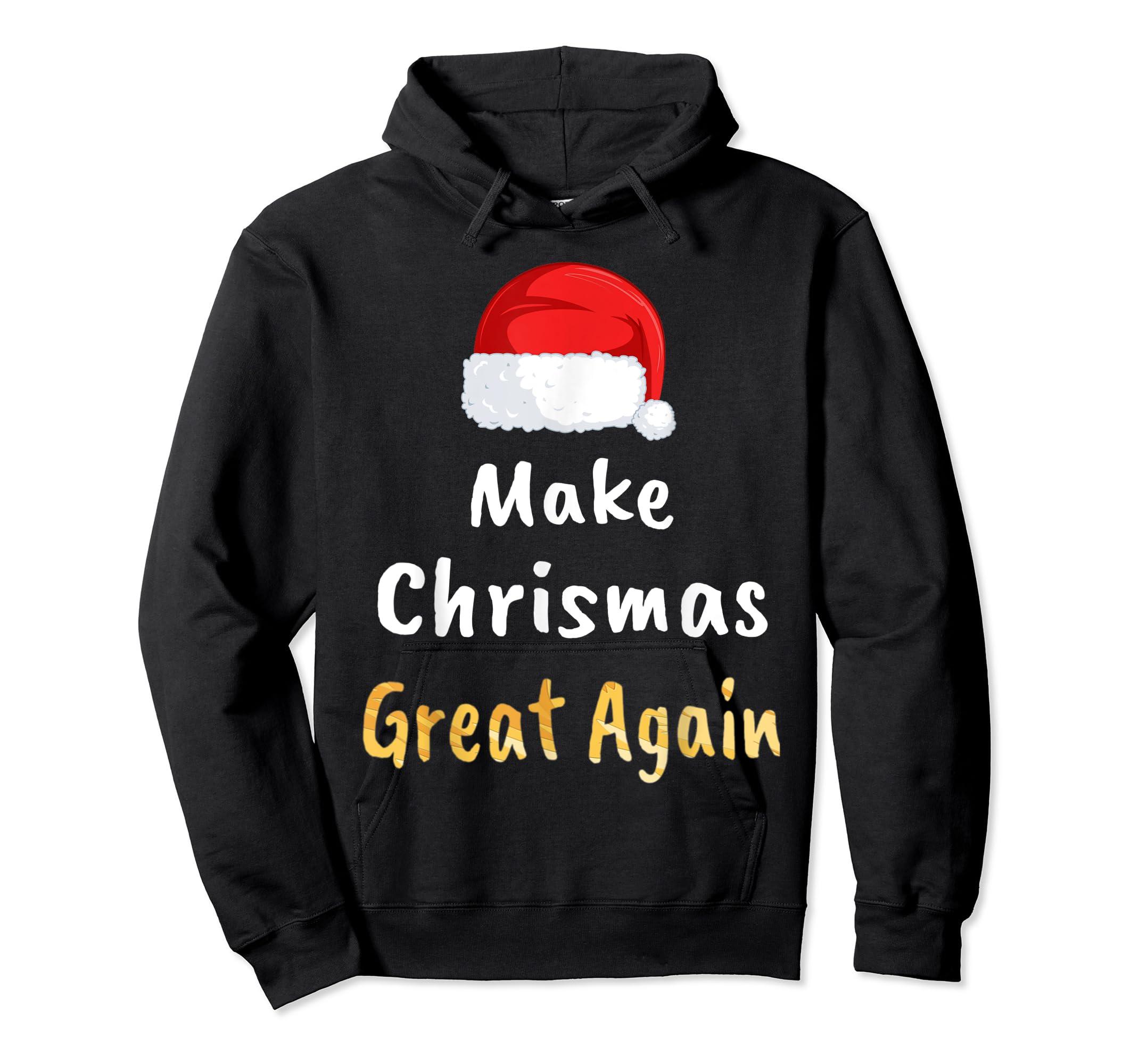 Awesome Make Christmas Great Again Trump Hat Xmas Gift T-Shirt-Hoodie-Black