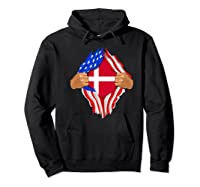 Danish Blood Inside Me T-shirt | Denmark Flag Gift Hoodie Black