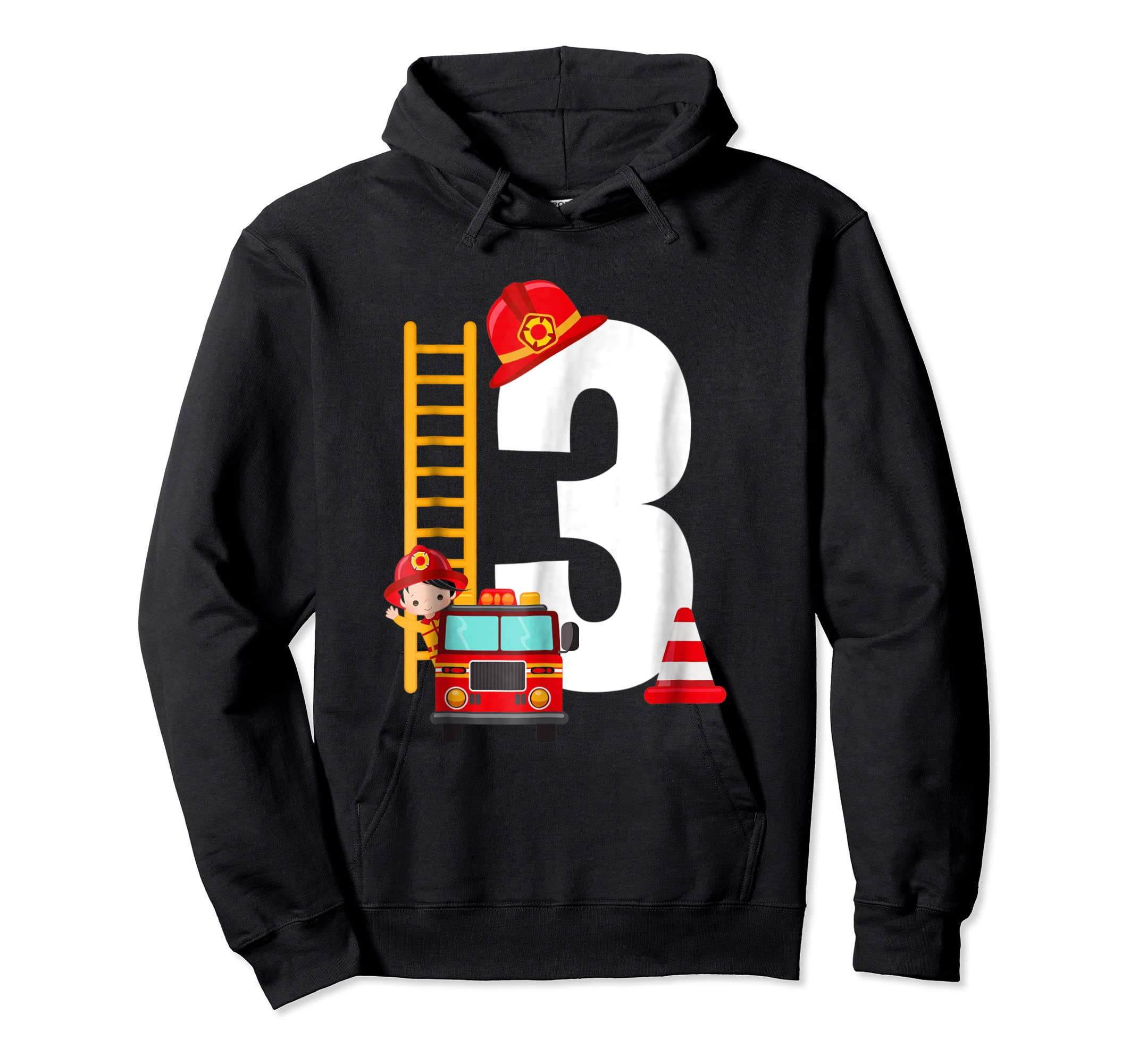 Kids 3rd Birthday Party Fire Truck Toddler T Shirt-Hoodie-Black