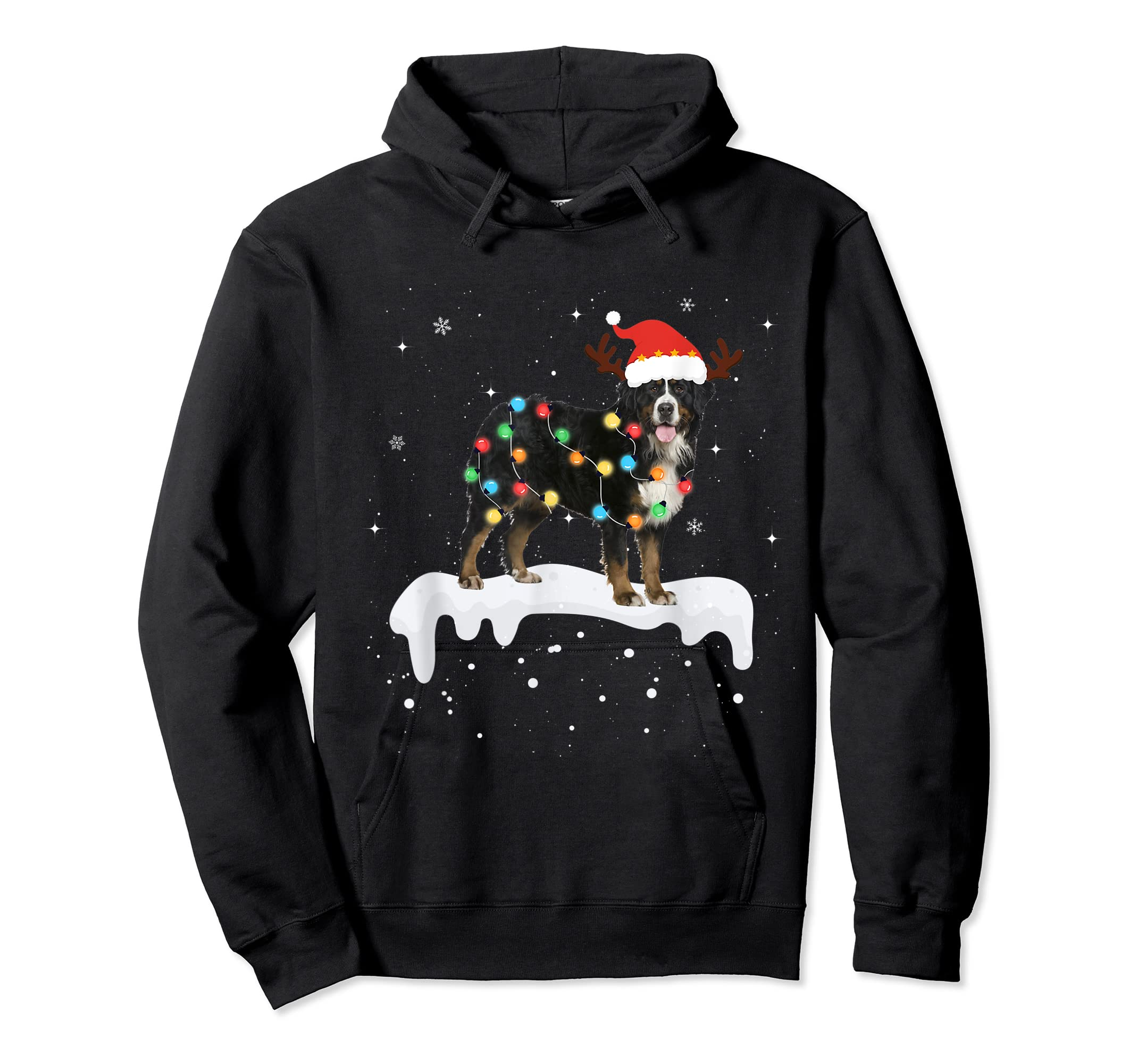 Bernese Mountain Christmas Lights Cute Dog Lover Gift T-Shirt-Hoodie-Black