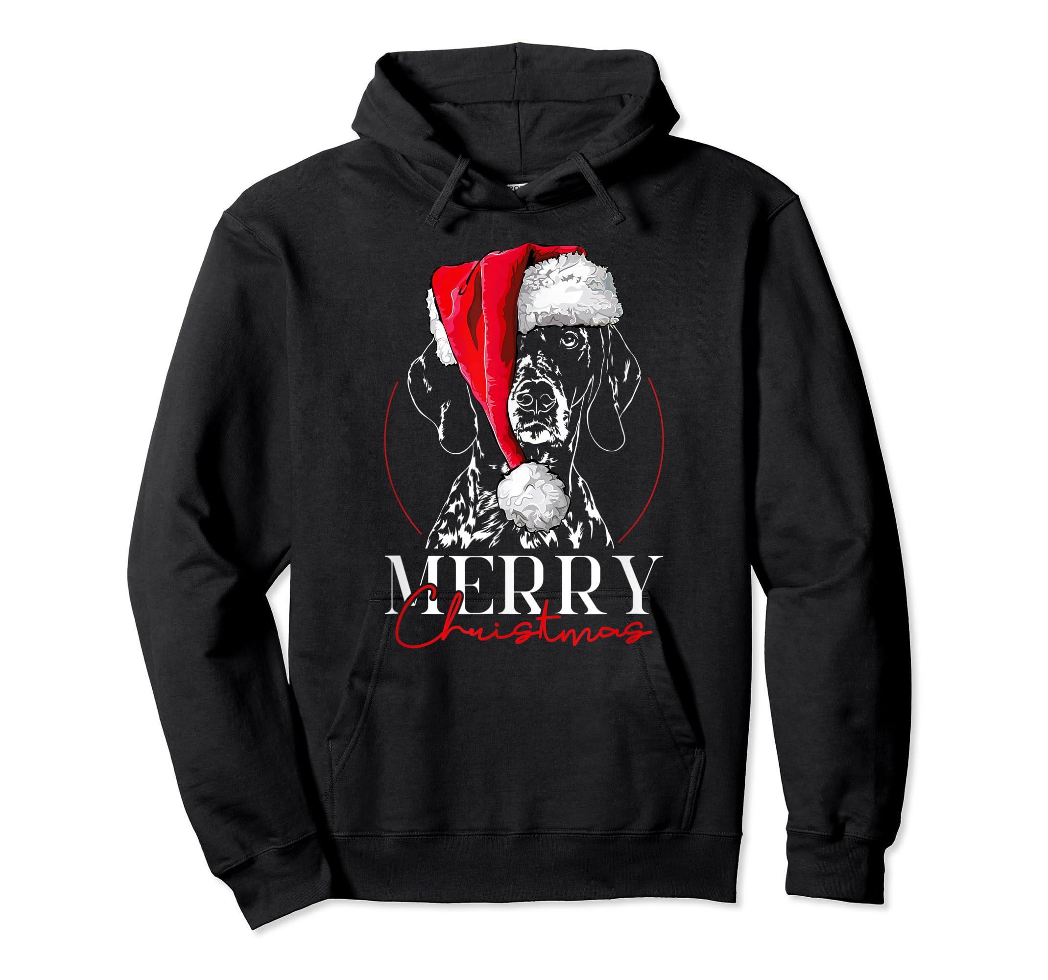 Funny Santa German Shorthaired Pointer Merry Christmas dog T-Shirt-Hoodie-Black