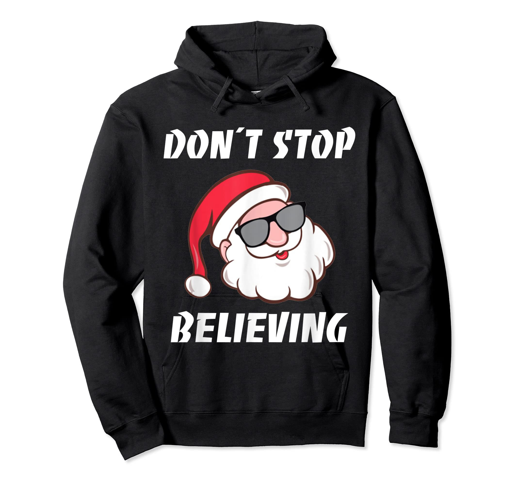 Don't Stop Believing Santa Claus Christmas T-Shirt-Hoodie-Black