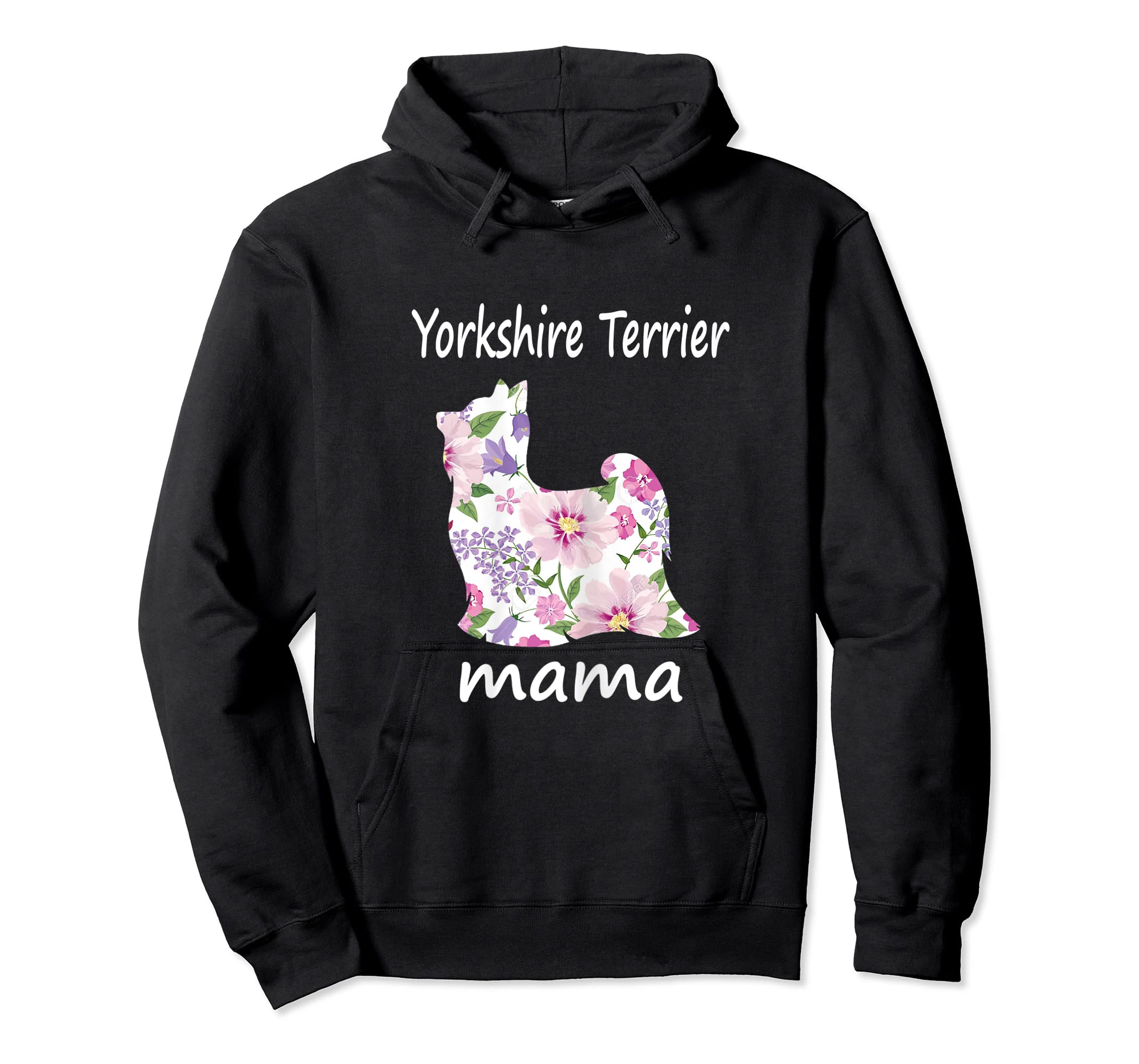 Womens Yorkshire Terrier Mama Decorative Flowers Dog Lover Mom T-Shirt-Hoodie-Black