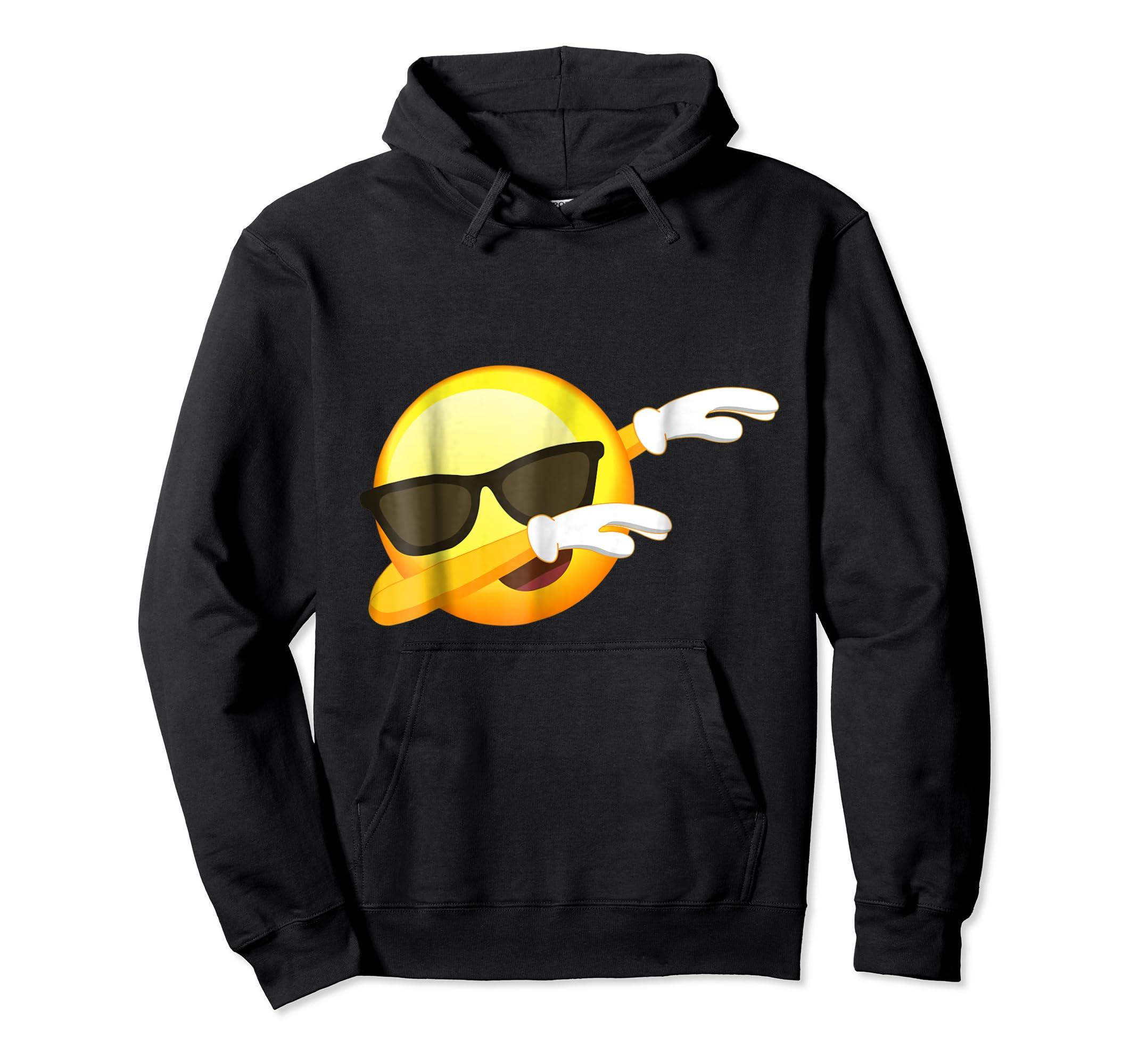 Funny Dabbing Emoji Shirt - Cool Emoji Dab T-Shirt-Hoodie-Black