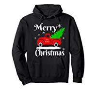 Merry Christmas Old Vintage Red Truck With Christmas Tree Shirts Hoodie Black