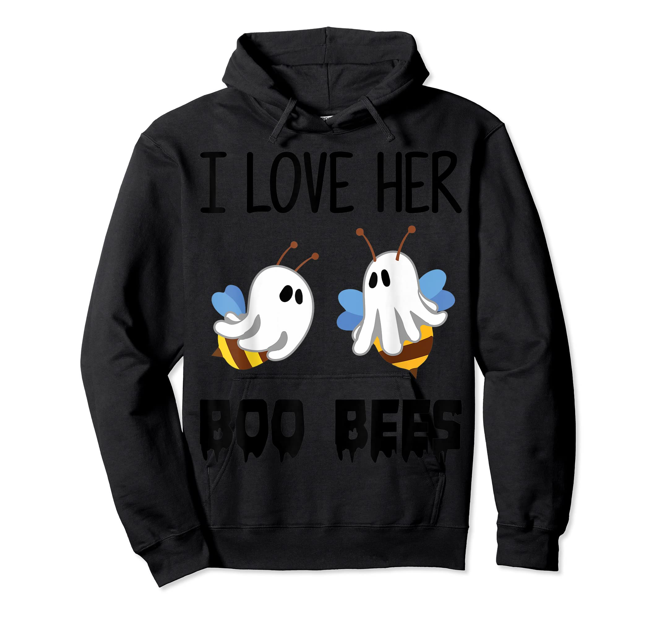 I Love Her Boo Bees Couples Funny Halloween Costume Gift T-Shirt-Hoodie-Black