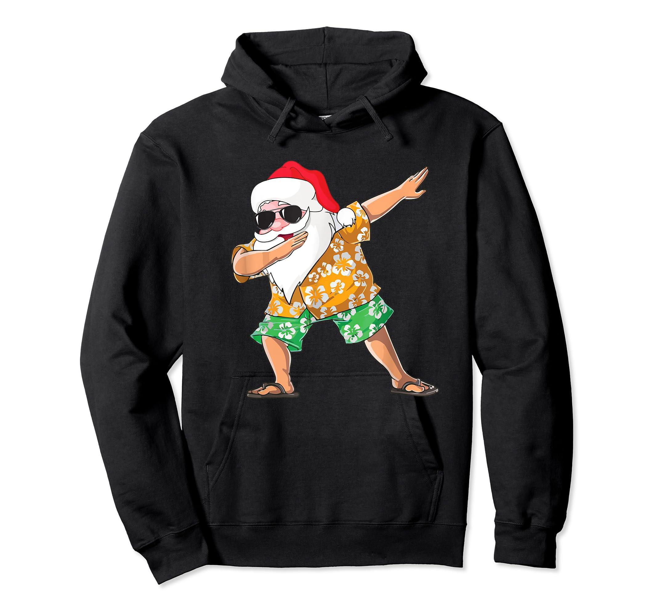 Dabbing Santa Tee Christmas In July Kids Hawaiian Xmas T-Shirt-Hoodie-Black