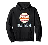 Baltimore Oriole Baseball Tshirt Hometown Skyline Design Premium T-shirt Hoodie Black