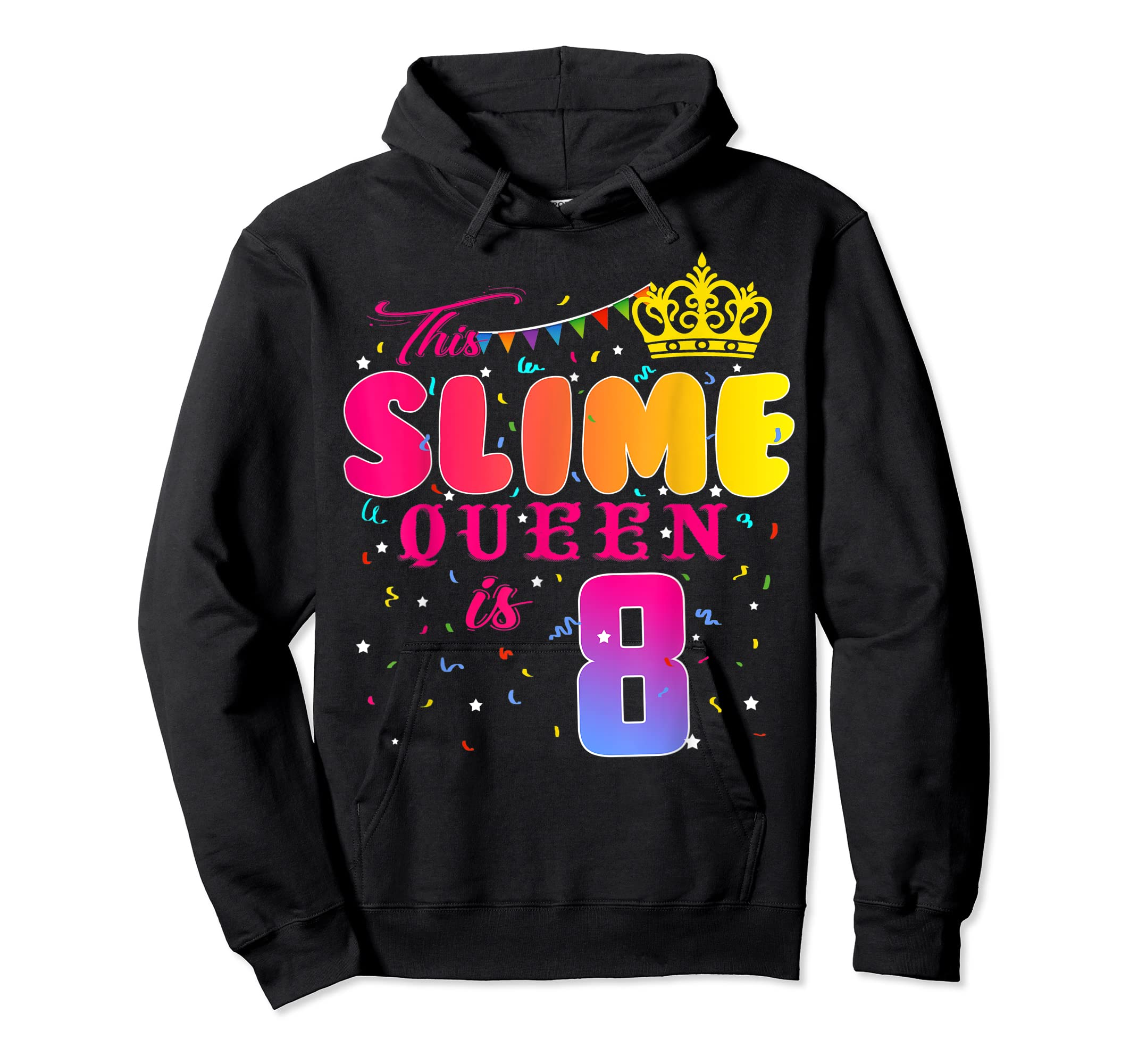 8 Years Old 8th Birthday Slime Queen Shirt Girl Gift Party-Hoodie-Black