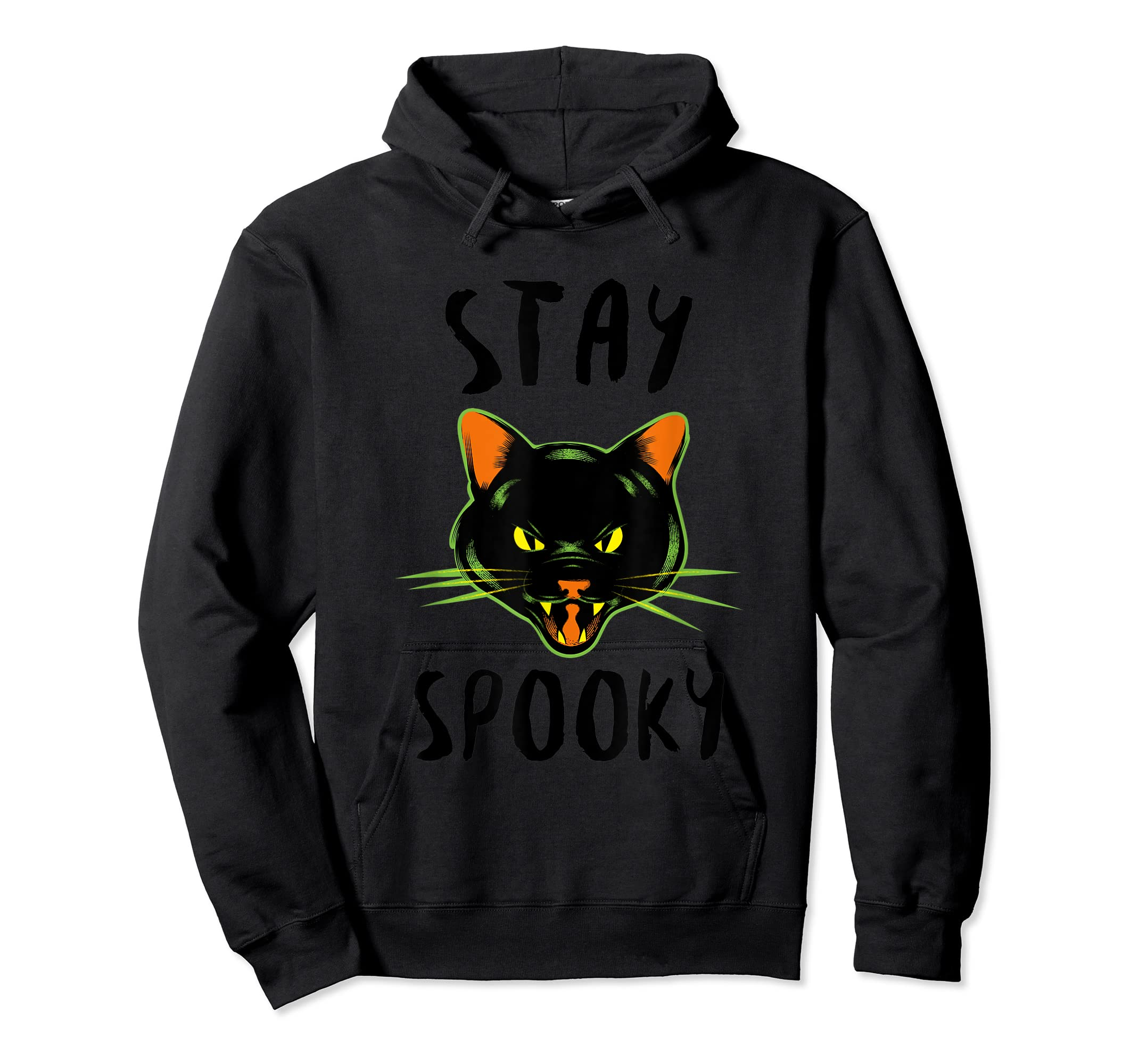 Stay Spooky | Scary Halloween Black Cat T-Shirt-Hoodie-Black
