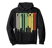 Retro Detroit Vintage Detroit Skyline Shirts Hoodie Black