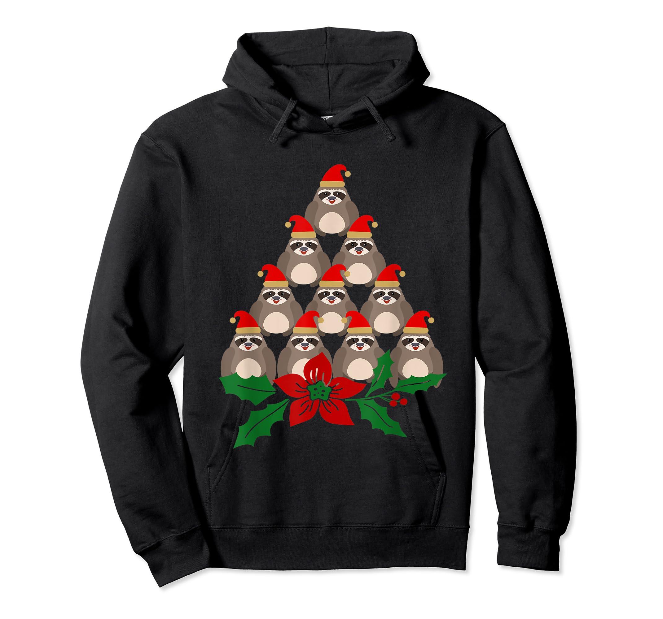 Sloth Christmas Tree Xmas Lover T-Shirt-Hoodie-Black