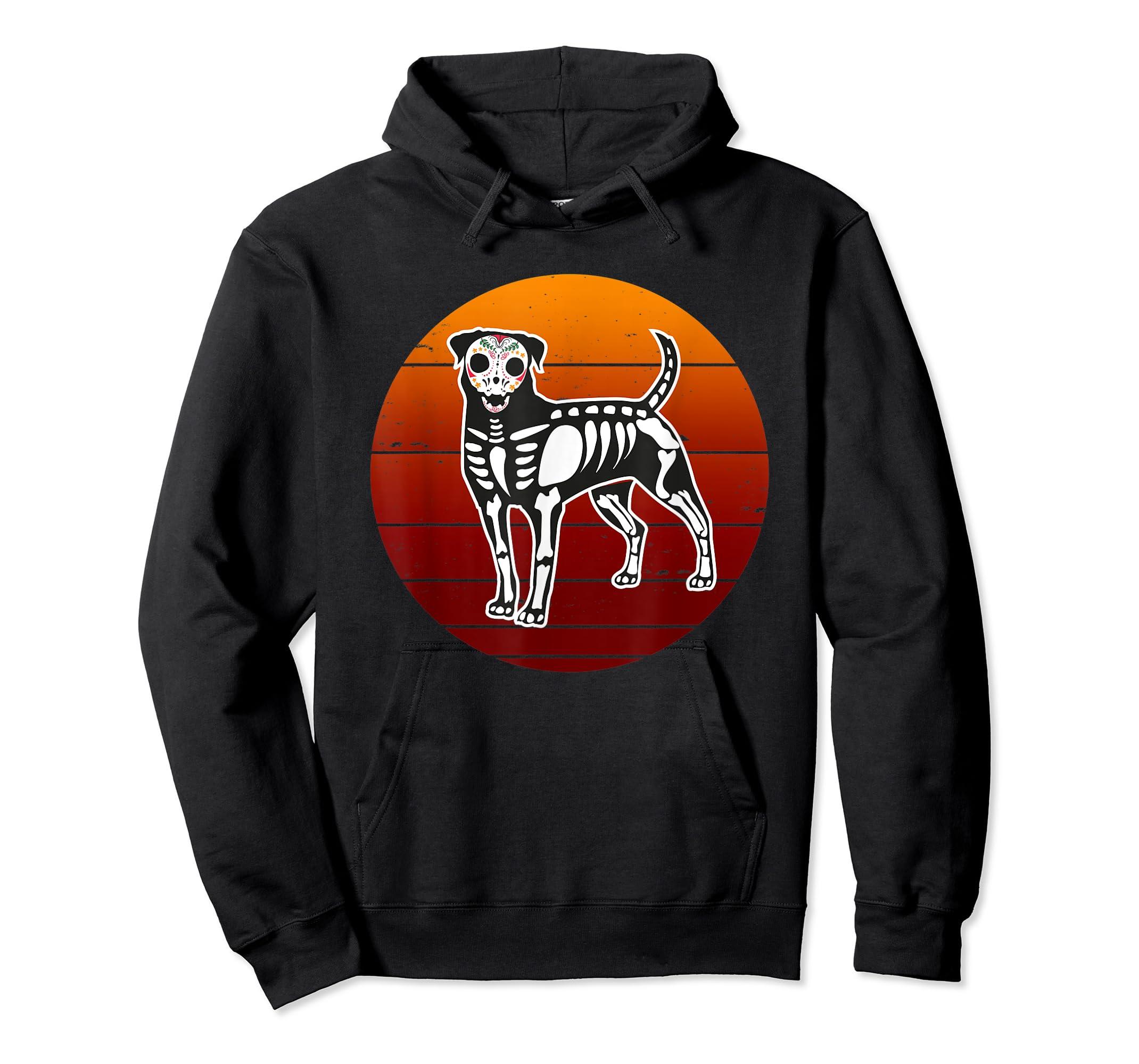 Rottweiler Skeleton Halloween T-Shirt-Hoodie-Black