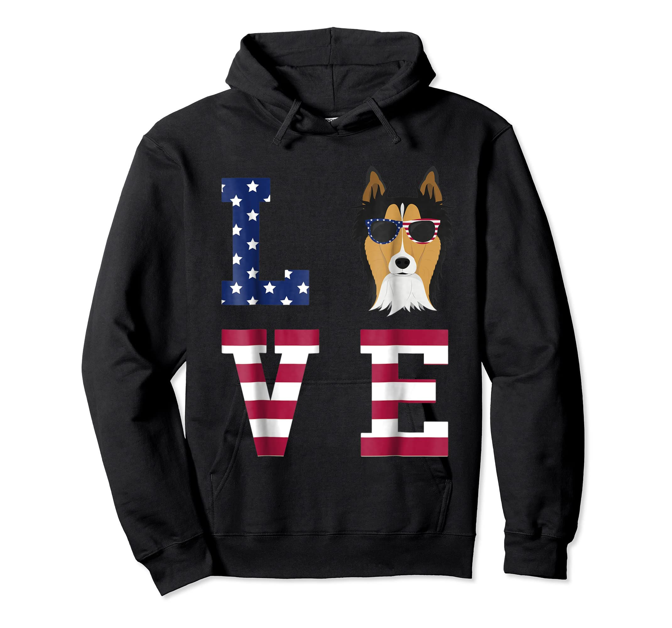 Collie Dog - 4th Of July T-Shirt-Hoodie-Black