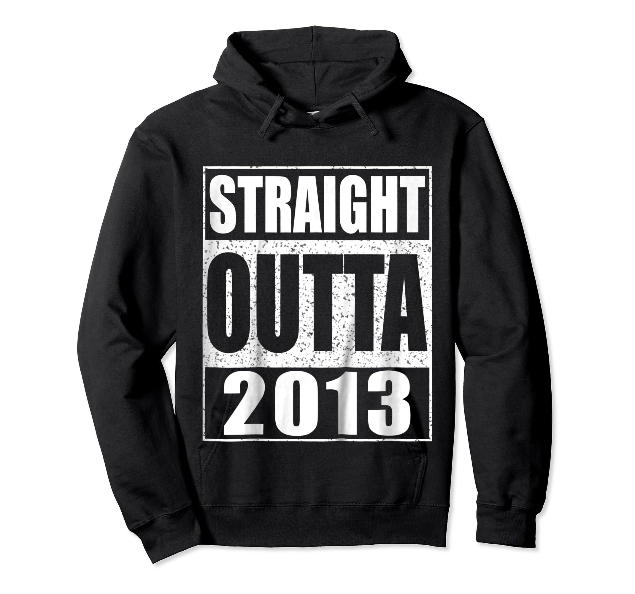 Kids Straight Outta 2013 T-Shirt 6th Birthday Gift Shirt-Hoodie-Black
