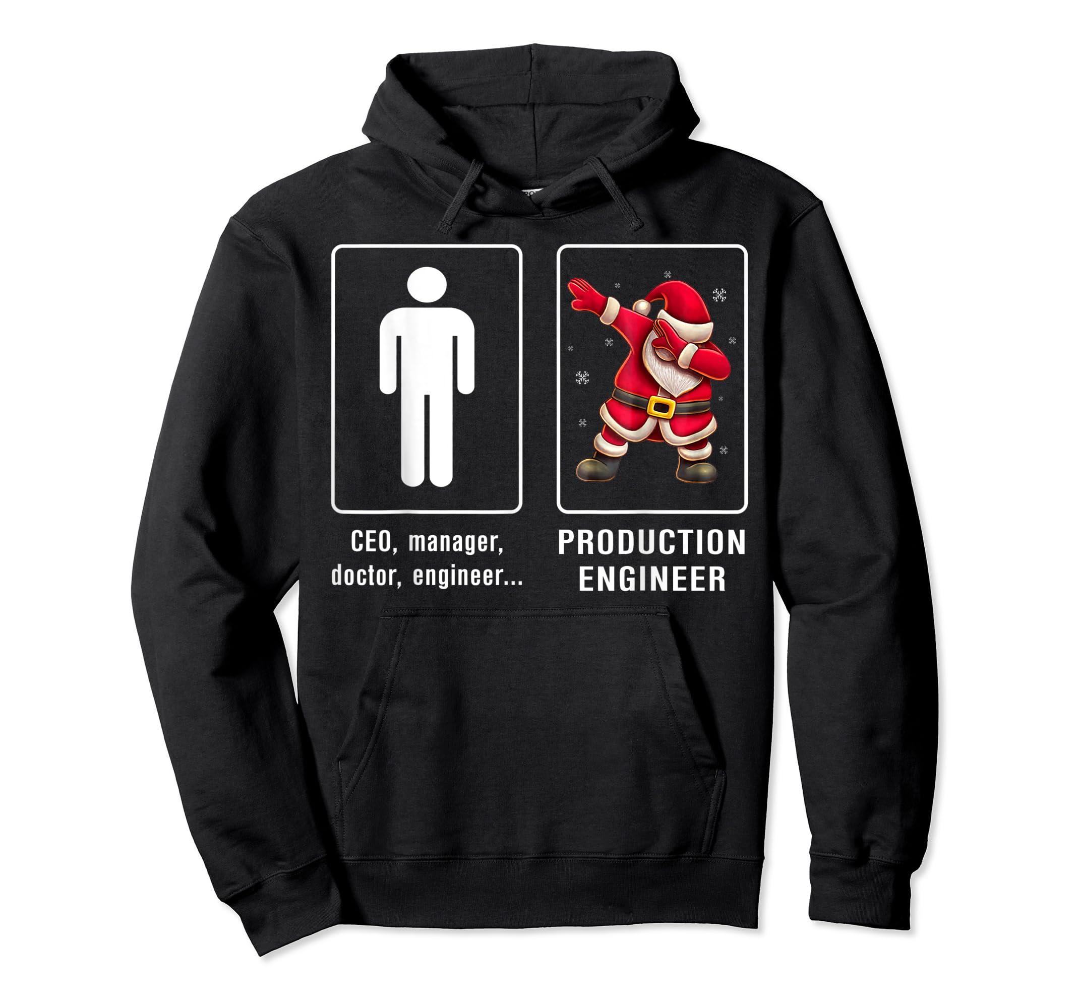 PRODUCTION ENGINEER Santa Dab T-shirt Funny Christmas T-Shirt-Hoodie-Black