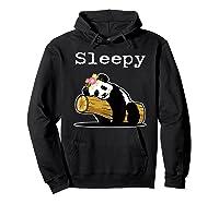 Sleepy Panda Shirt For Girls Cute Panda Flowers Lazy Relaxed Hoodie Black