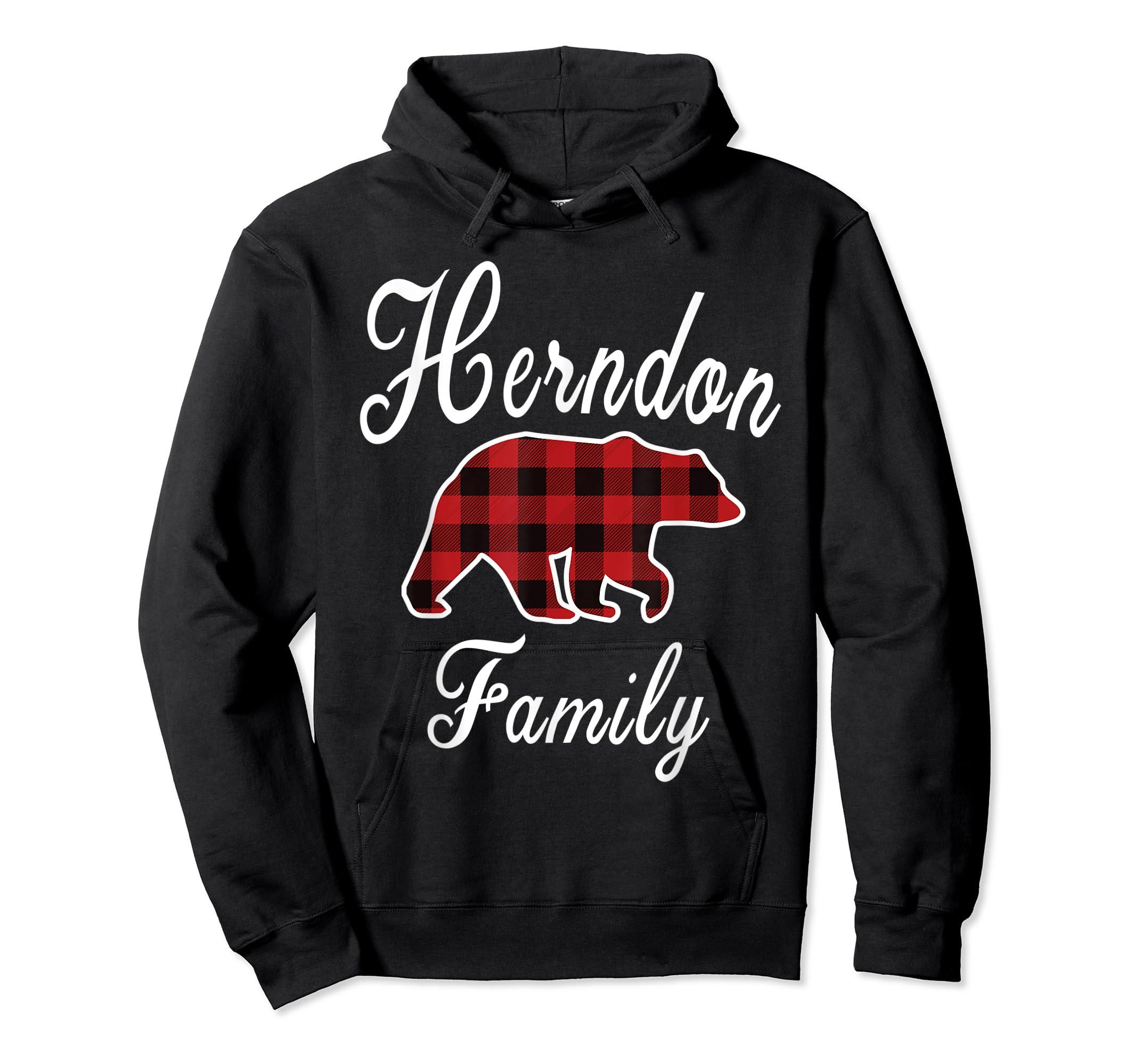 HERNDON Family Bear Red Plaid Christmas Pajama Gift T-Shirt-Hoodie-Black