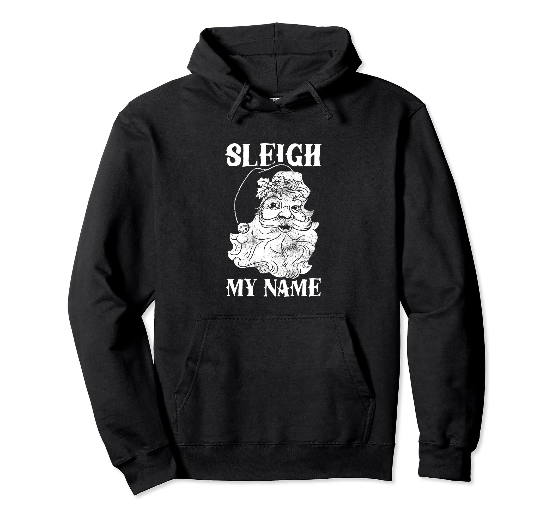 Funny Christmas Santa Hoodie Sleigh My Name-SFL
