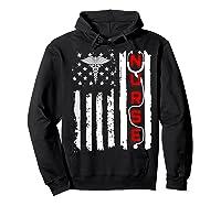 Patriotic American Usa Flag Correctional & Rn Nurse Tshirt Hoodie Black