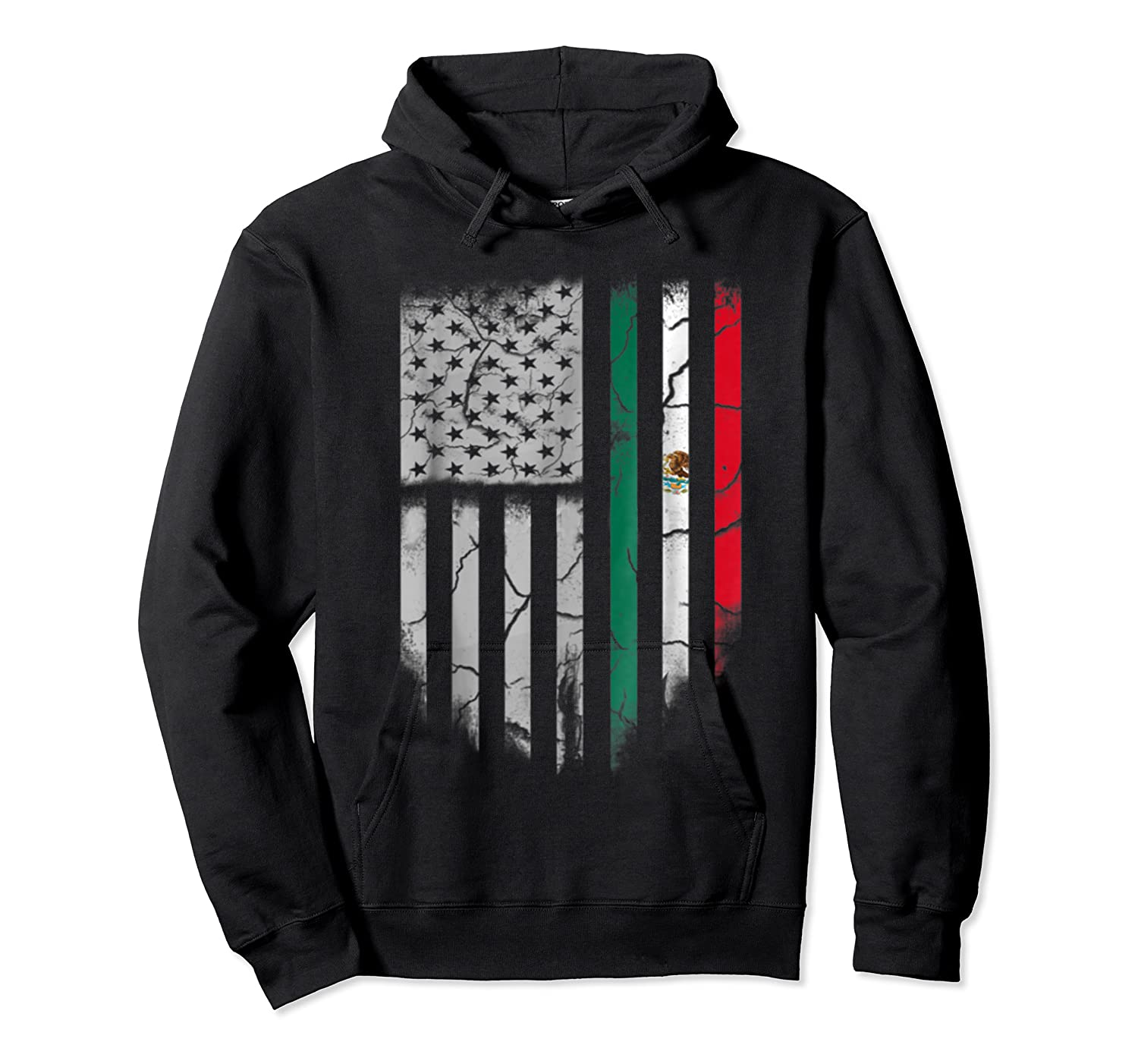 American Raised Mexican Roots Mexican Flag Gift Shirts Unisex Pullover Hoodie