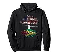 American Heart Guyanese Roots Patriot Usa Guyana Flag Shirts Hoodie Black