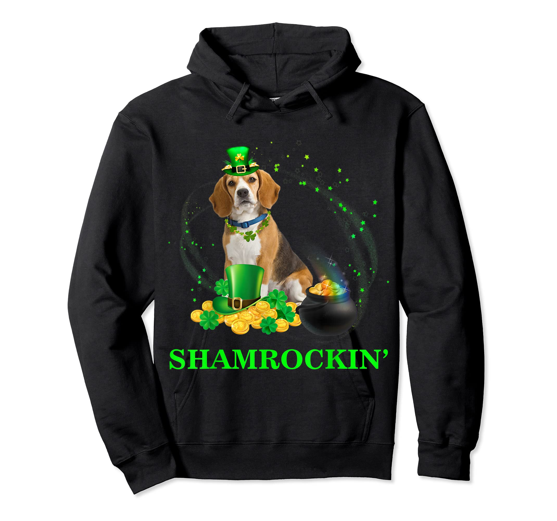 Shamrockin' Beagle St Patricks Day Tshirt Dog Gifts-Hoodie-Black