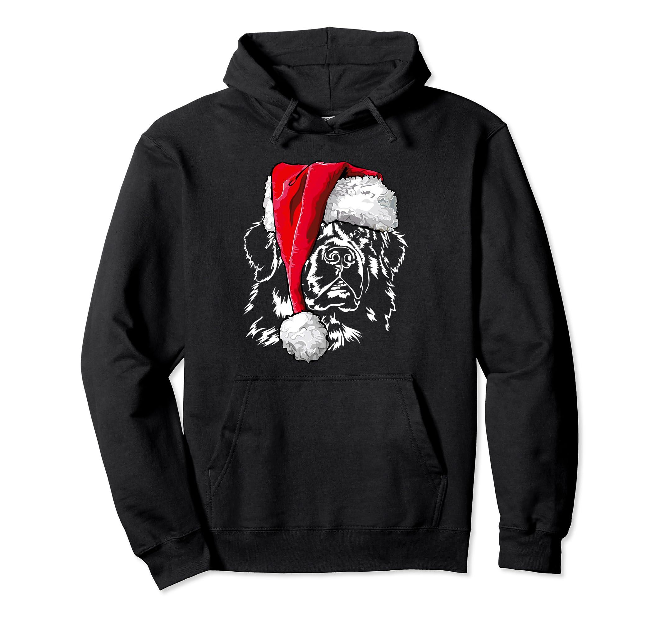 Funny Newfoundland Santa Christmas Dog Pullover Hoodie gift-Bawle