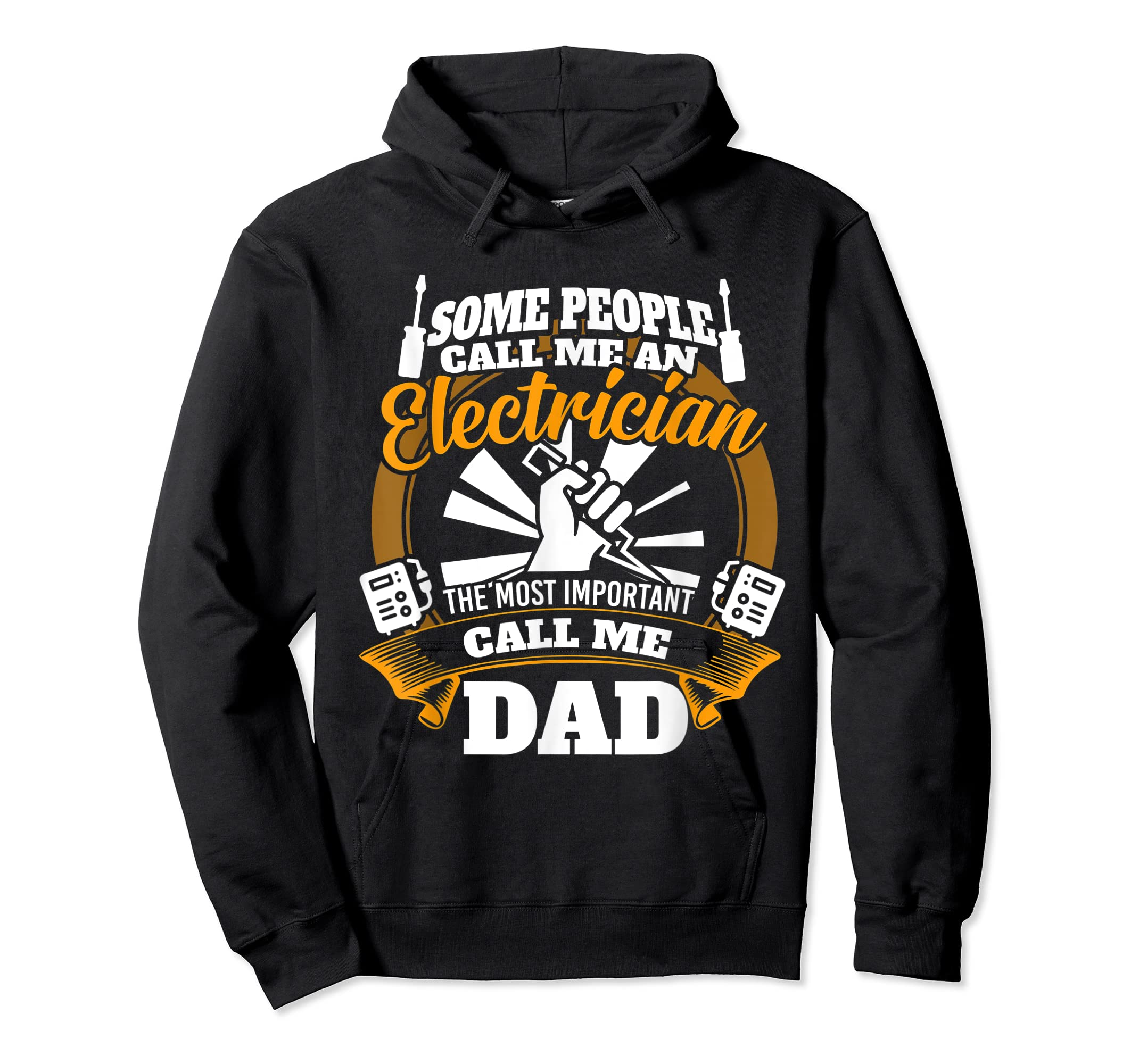 Mens Funny Electrician T-shirt for dad who loves technician gifts-Hoodie-Black