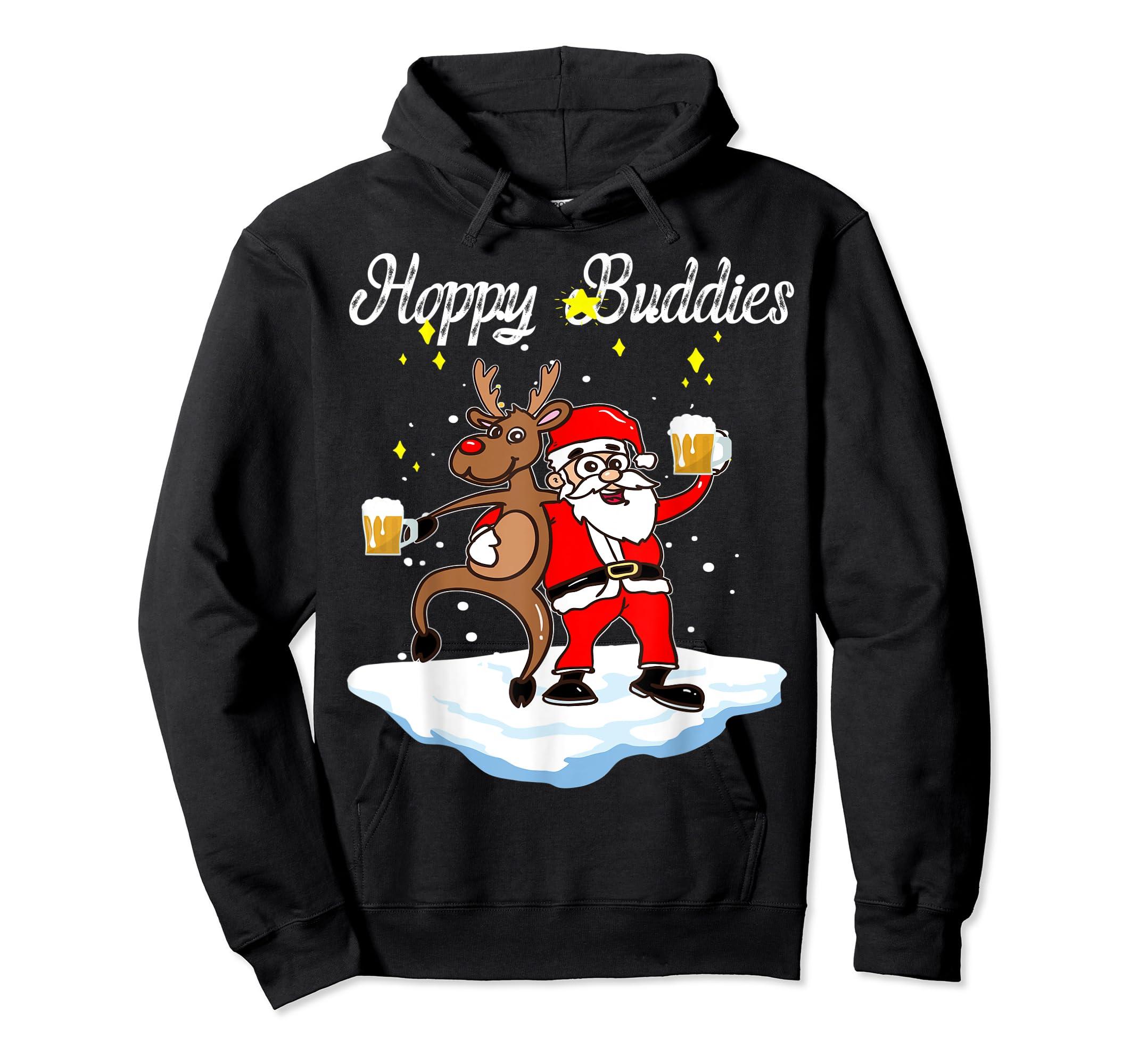 Santa Dancing Reindeer Beer Drinking T-Shirt Christmas Party T-Shirt-Hoodie-Black