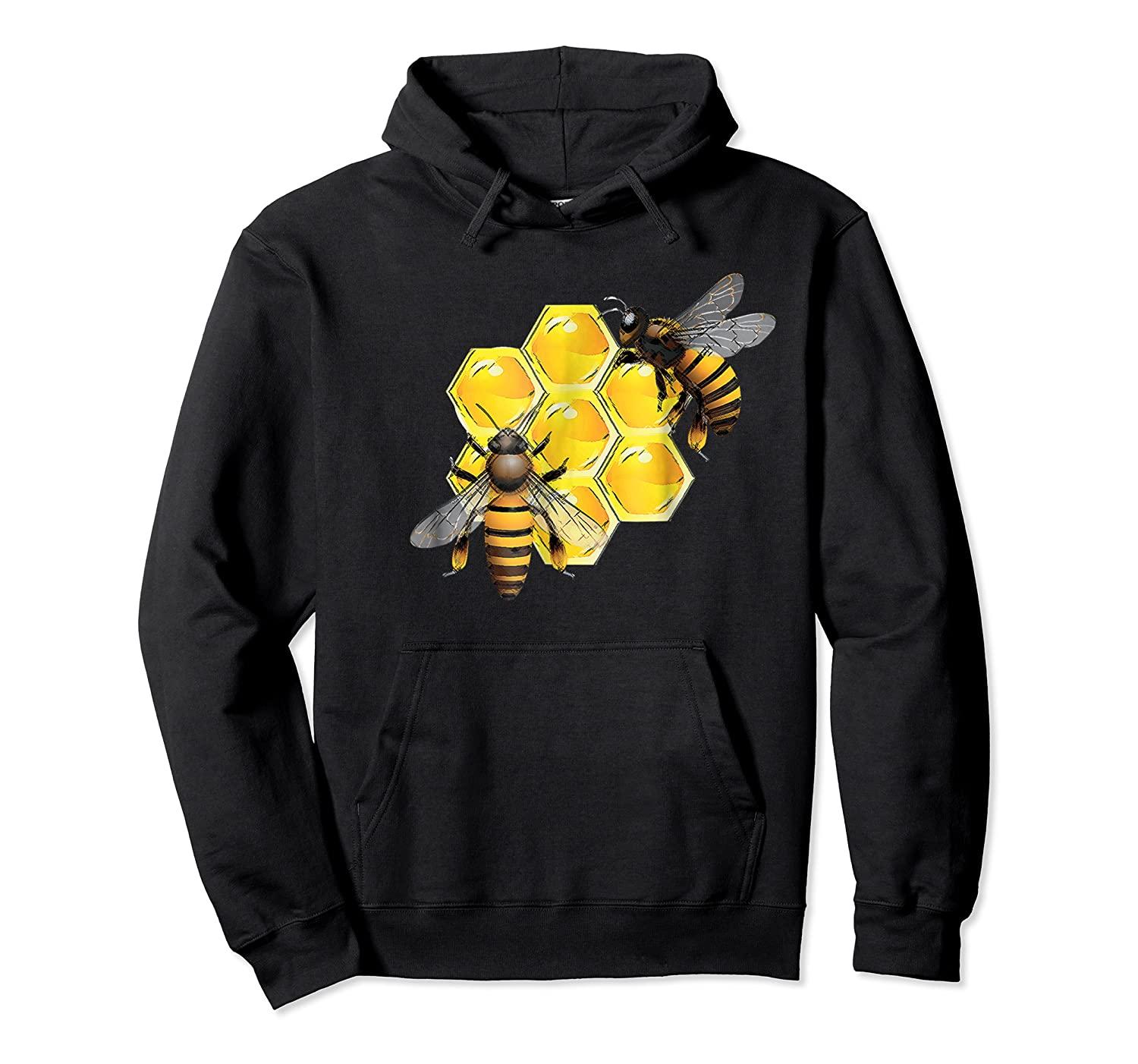Honeycomb Pattern With Two Bees Drawing Shirts Unisex Pullover Hoodie