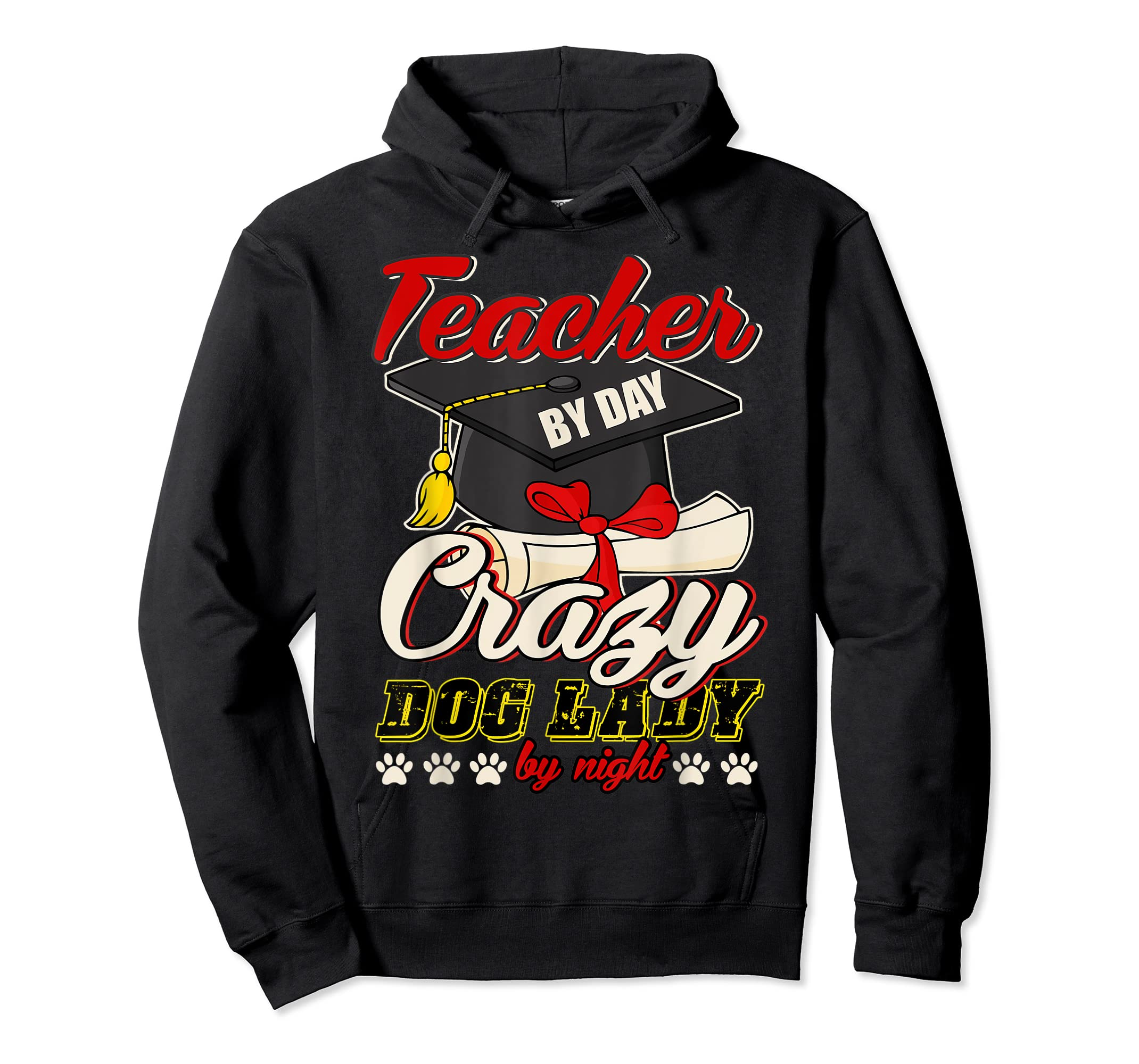 Teacher By Day T Shirt, Crazy Dog Lady By Night T Shirt-Hoodie-Black