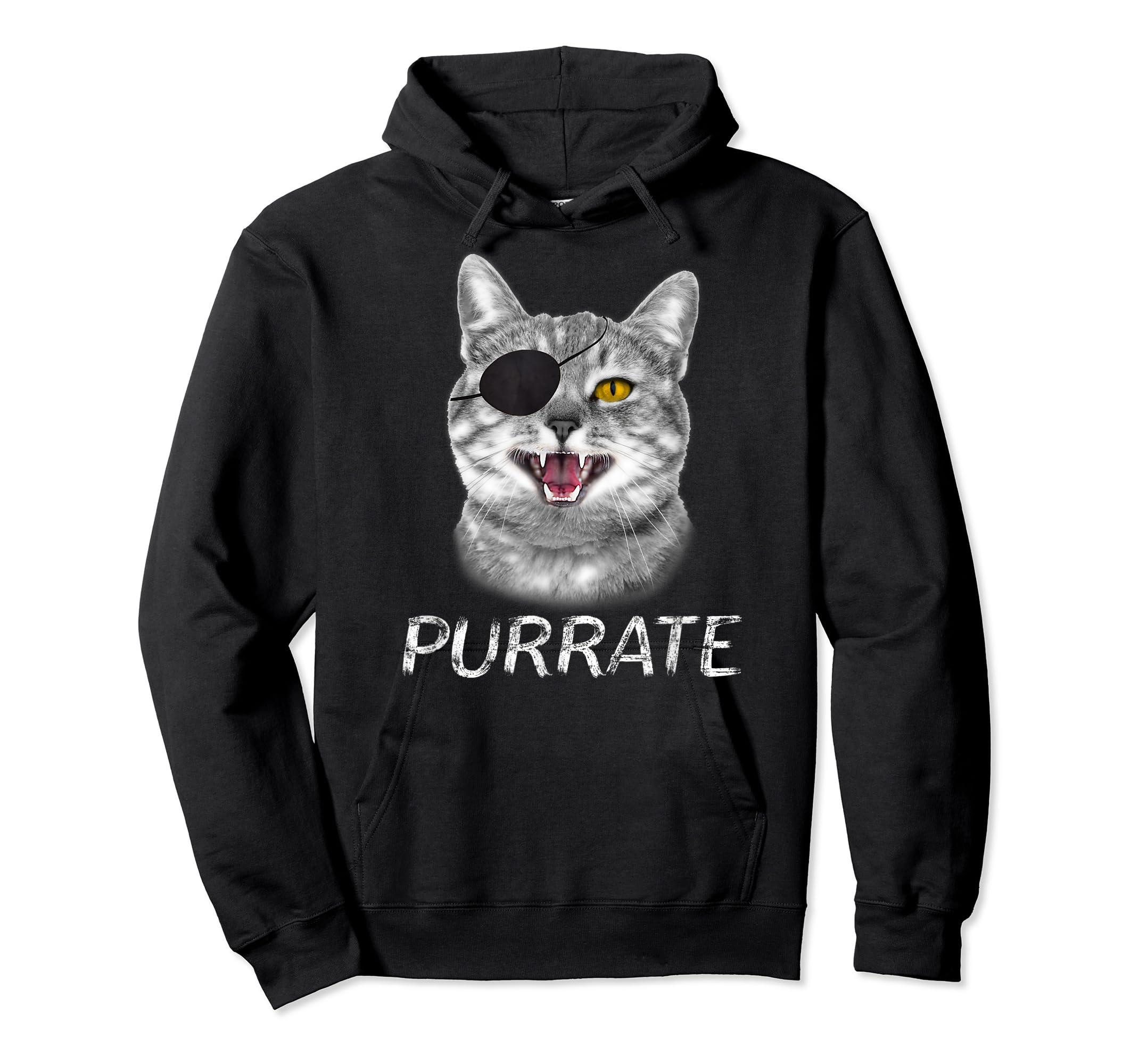 Halloween Trick Treat Cat Pirate Purrate T-Shirt-Hoodie-Black