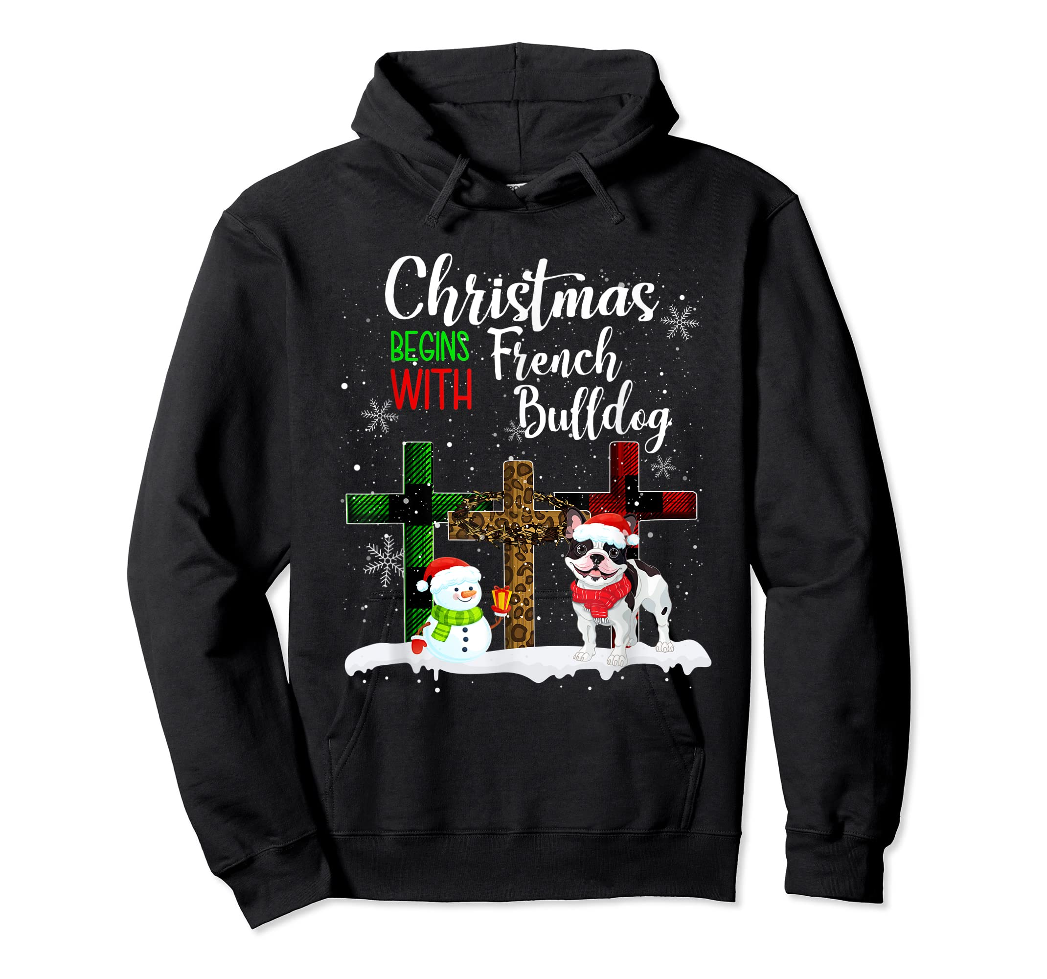 Christmas Begins With French Bulldog Costume Xmas Gifts T-Shirt-Hoodie-Black