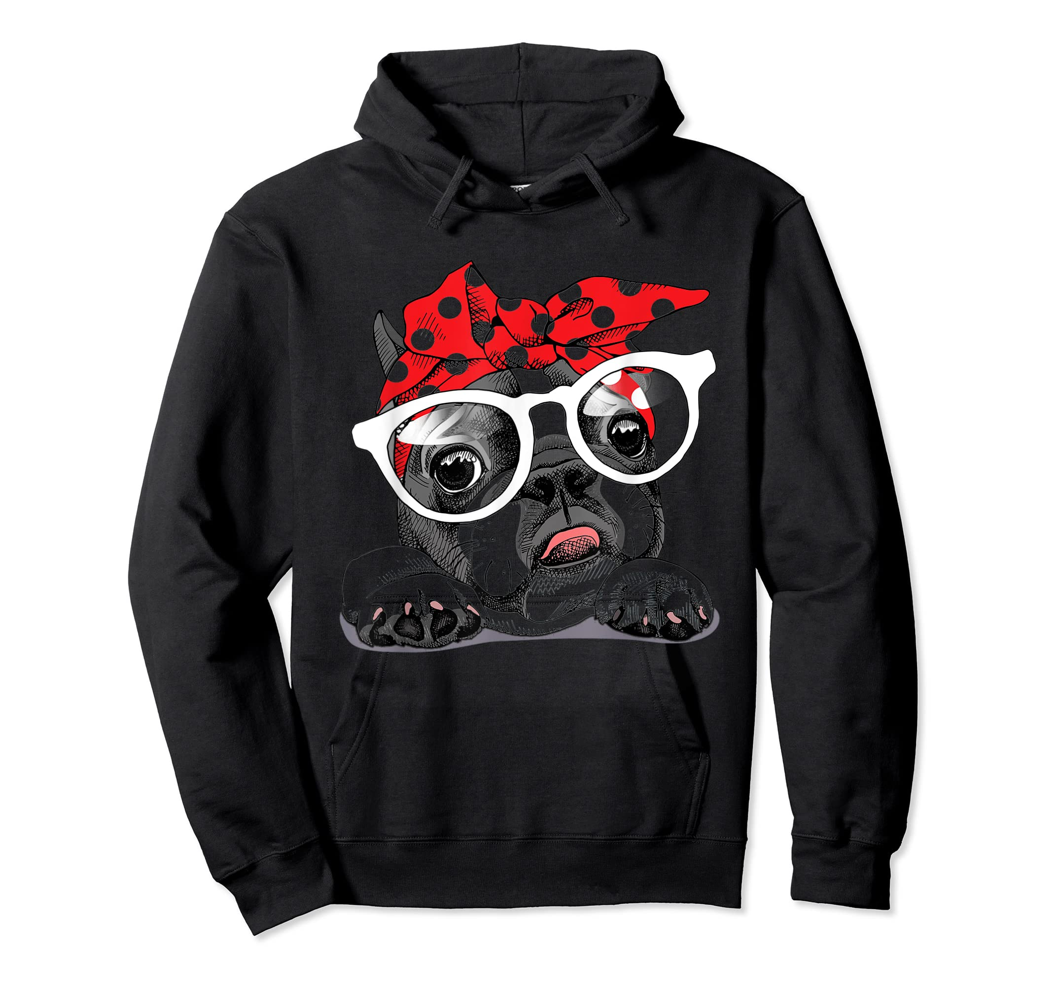 French Bulldog in a headband and with glasses T-Shirt-Hoodie-Black