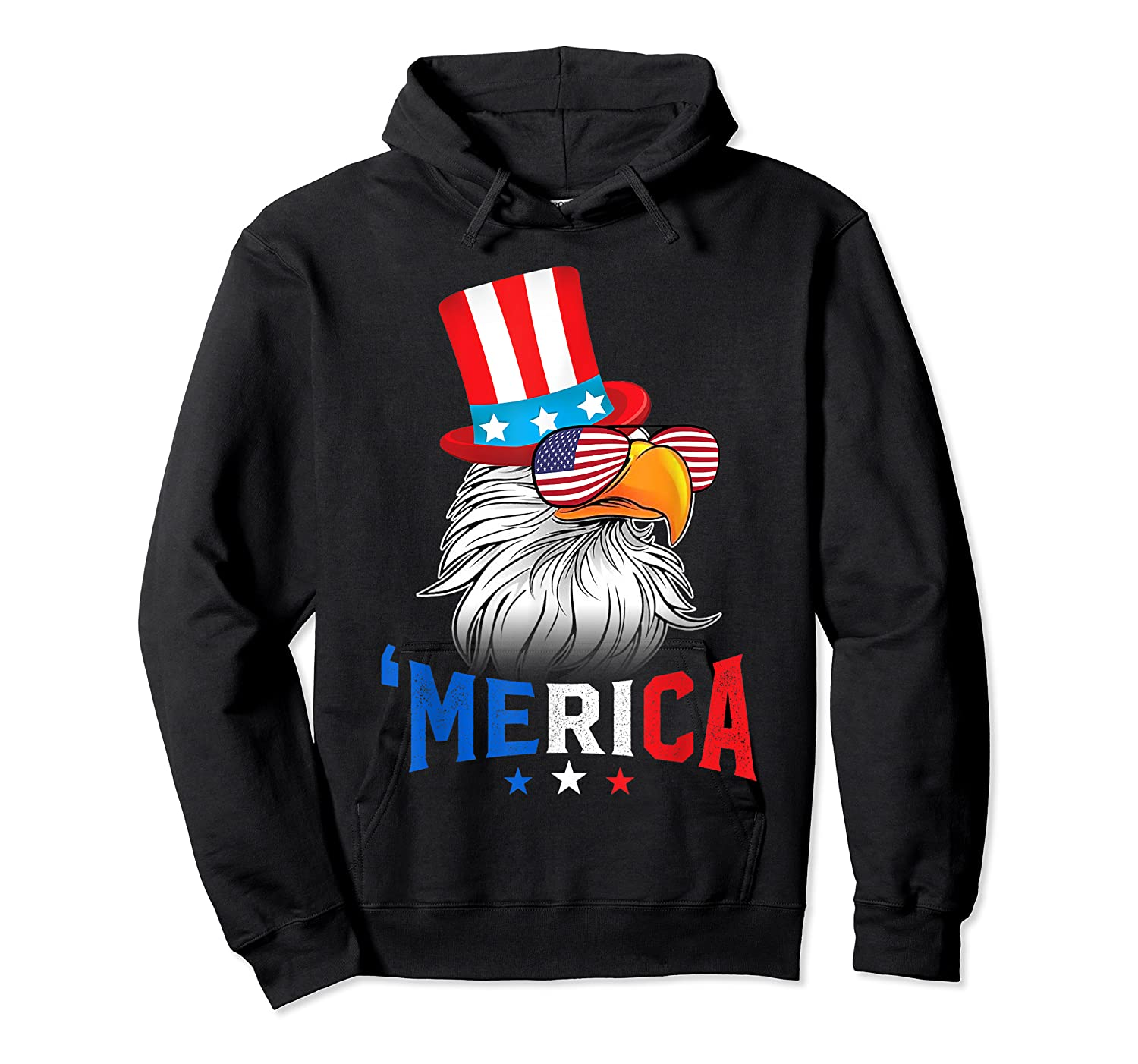 'merica Bald Eagle Sunglasses Flag Uncle Sam 4th Of July Shirts Unisex Pullover Hoodie