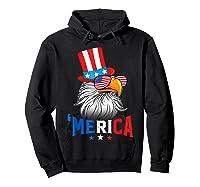 'merica Bald Eagle Sunglasses Flag Uncle Sam 4th Of July Shirts Hoodie Black